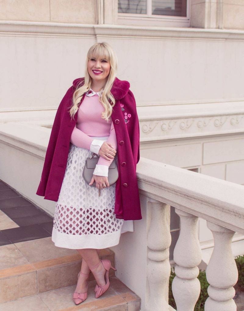 Floral Cape for Spring styled by popular California petite fashion blogger Lizzie in Lace