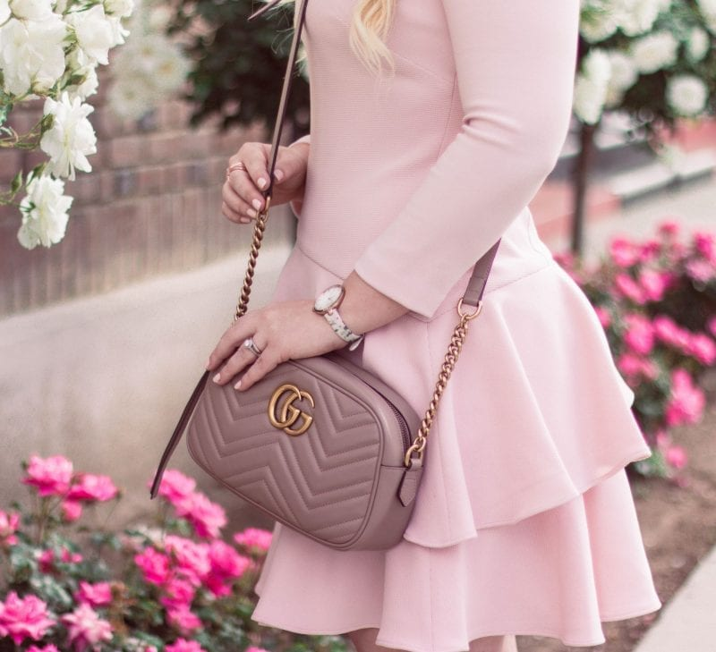 Elizabeth Hugen of Lizzie in Lace styles a blush Gucci Marmont bag