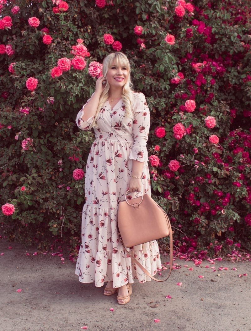 Boho Floral Maxi Dress featured by popular California fashion blogger, Lizzie in Lace
