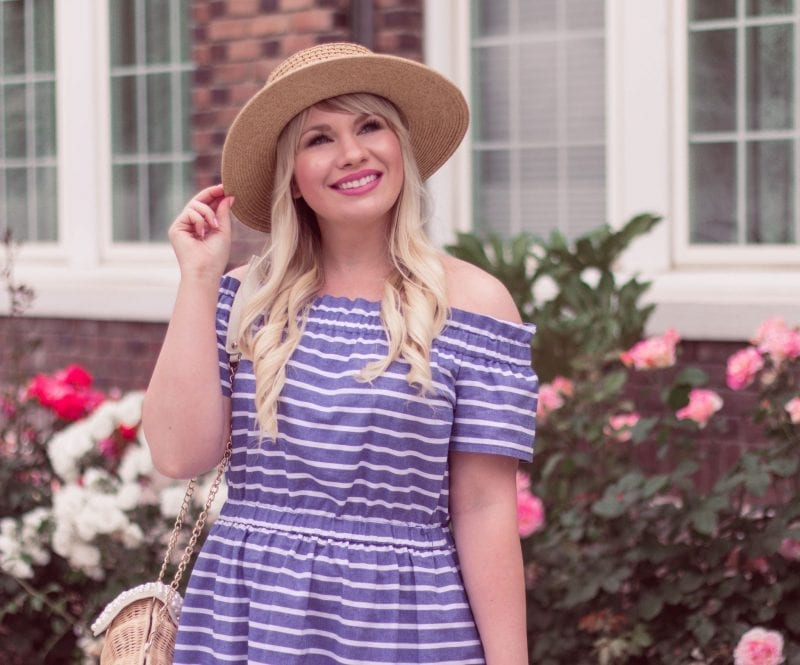 Striped Off The Shoulder Dress by popular California fashion blogger, Lizzie in Lace