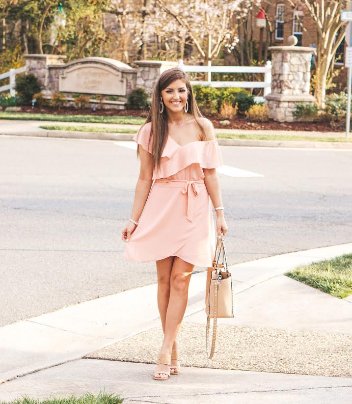 Blush Ruffle Sleeve Dress & Giveaway featured by popular California fashion blogger, Lizzie In Lace