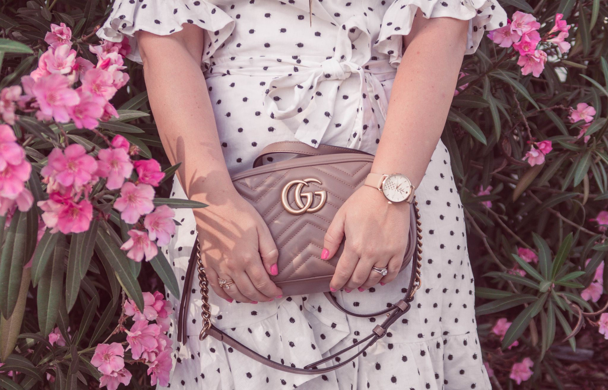 Fashion Blogger Elizabeth Hugen of Lizzie in Lace shares her girly handbag collection including this gucci marmont