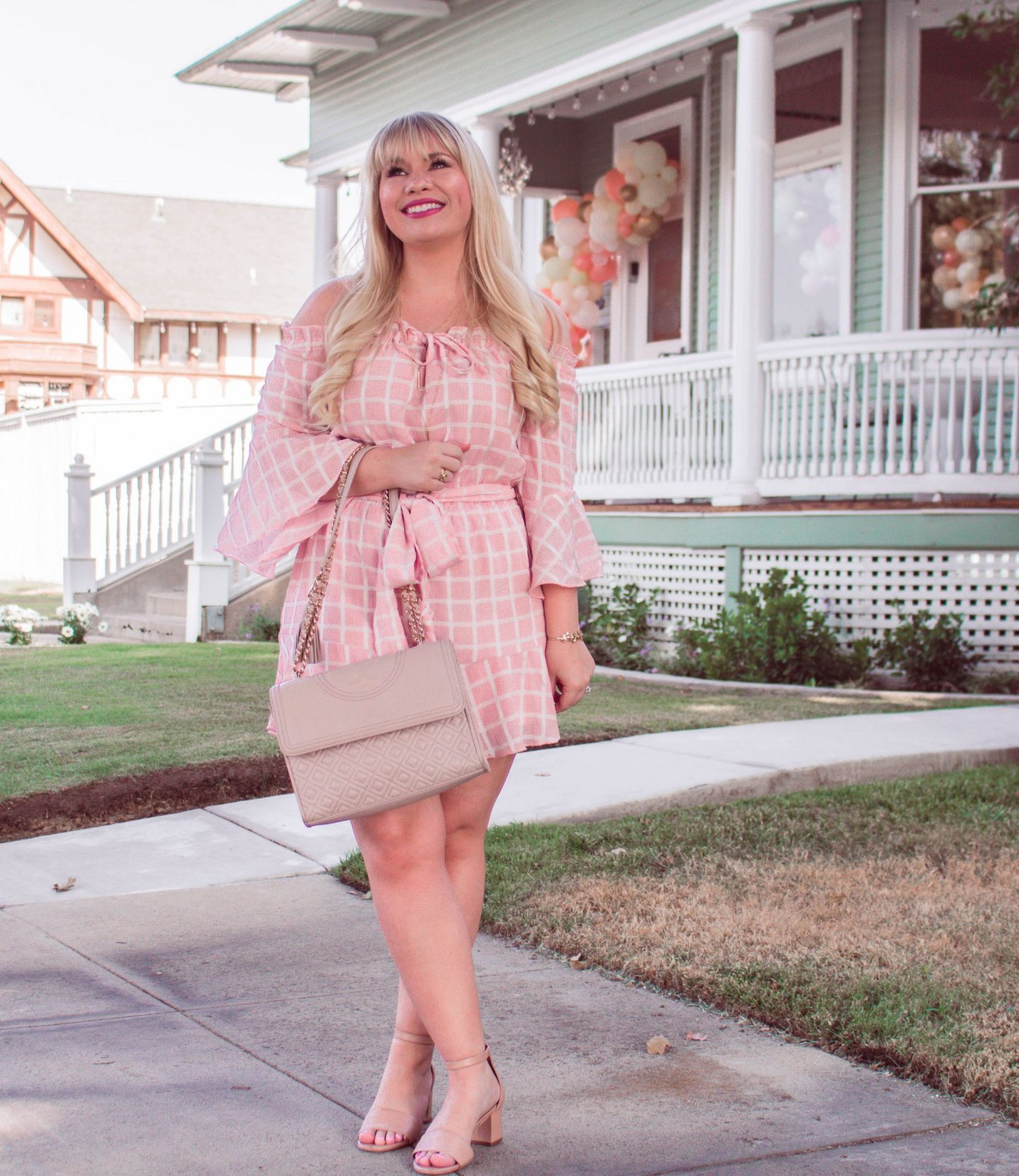 pink plaid romper