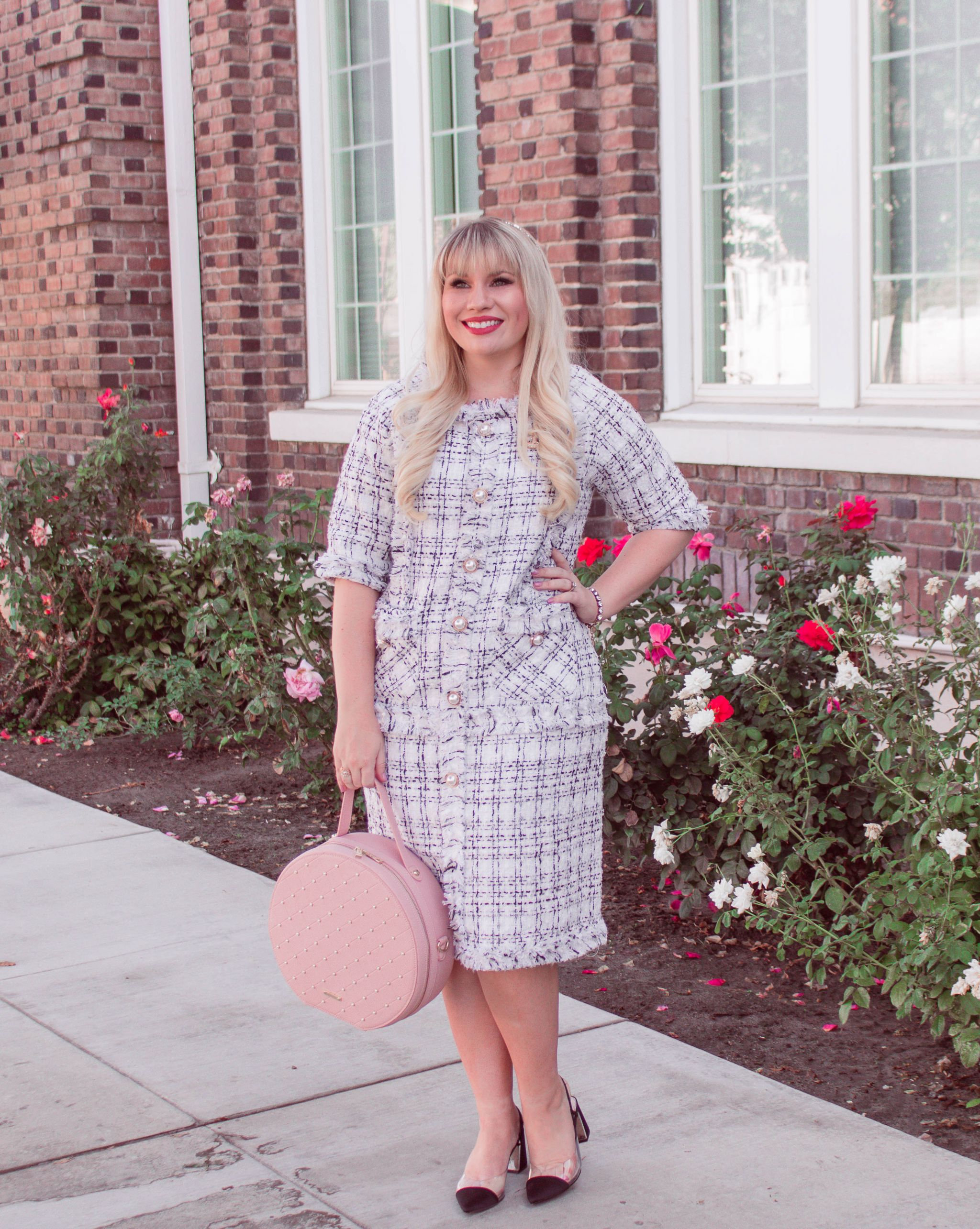 neutral tweed dress