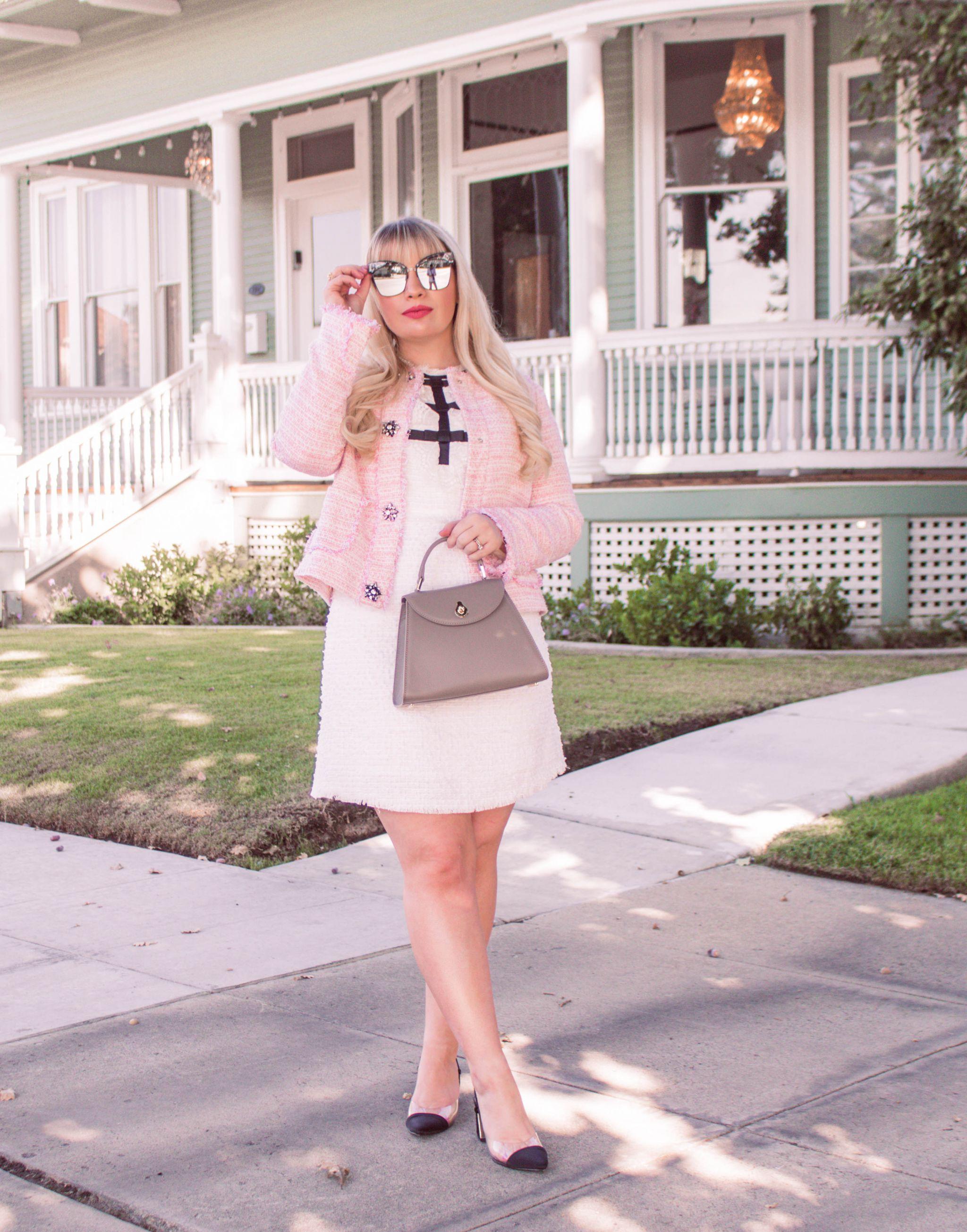 feminine tweed outfit