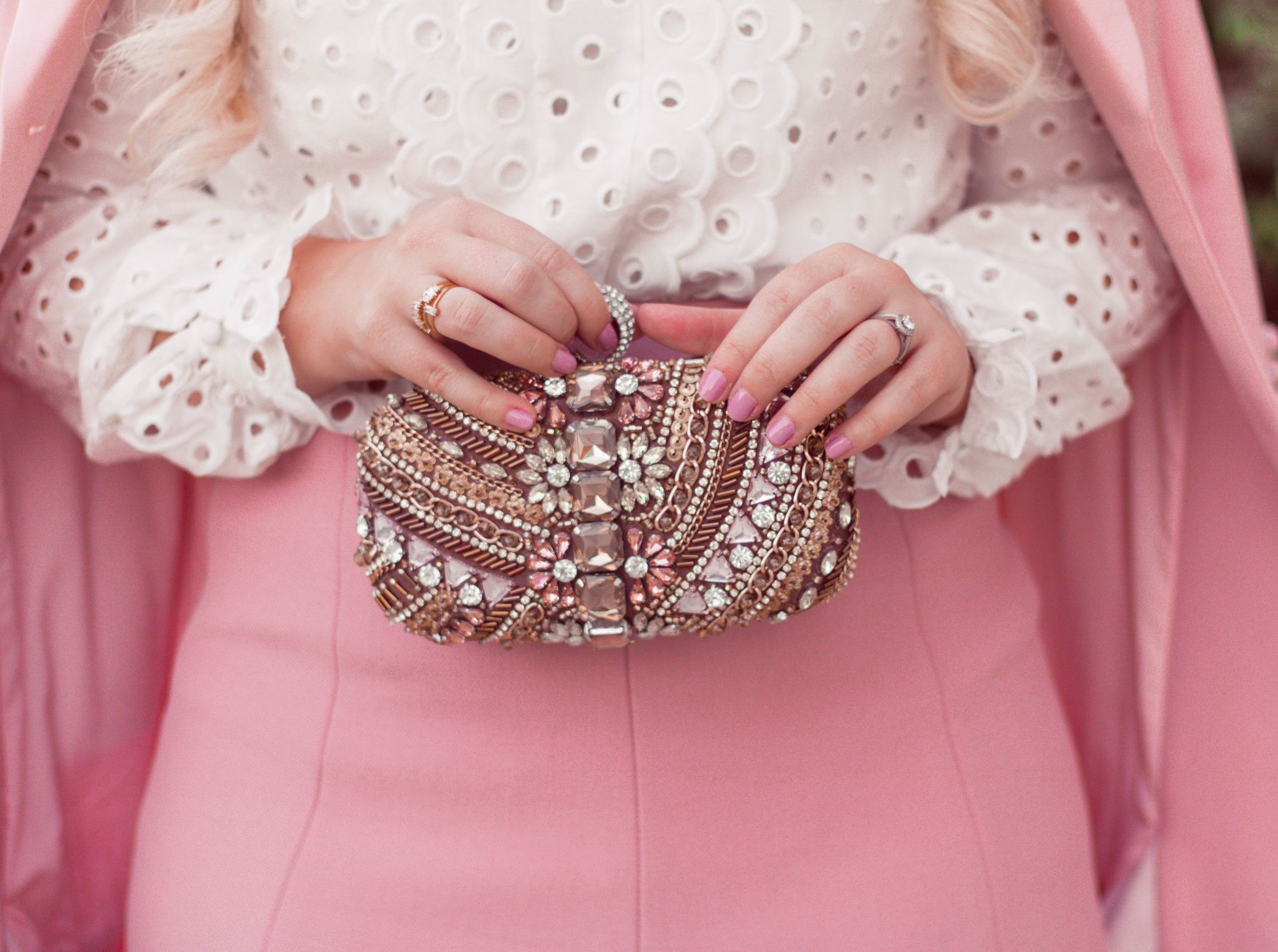Fashion Blogger Elizabeth Hugen of Lizzie in Lace shares her girly handbag collection including this embellished clutch