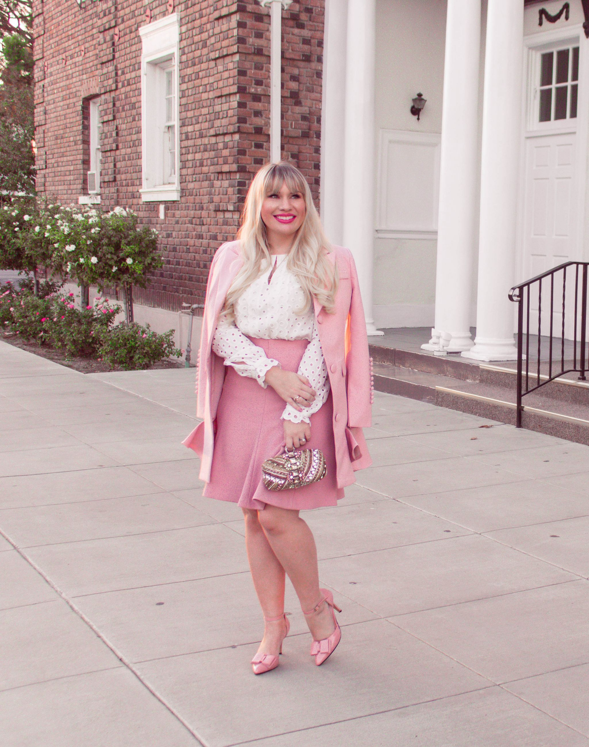 Fashion blogger Elizabeth Hugen of Lizzie in Lace shares 5 tips to make a pink outfit look sophisticated along with this feminine pink outfit idea