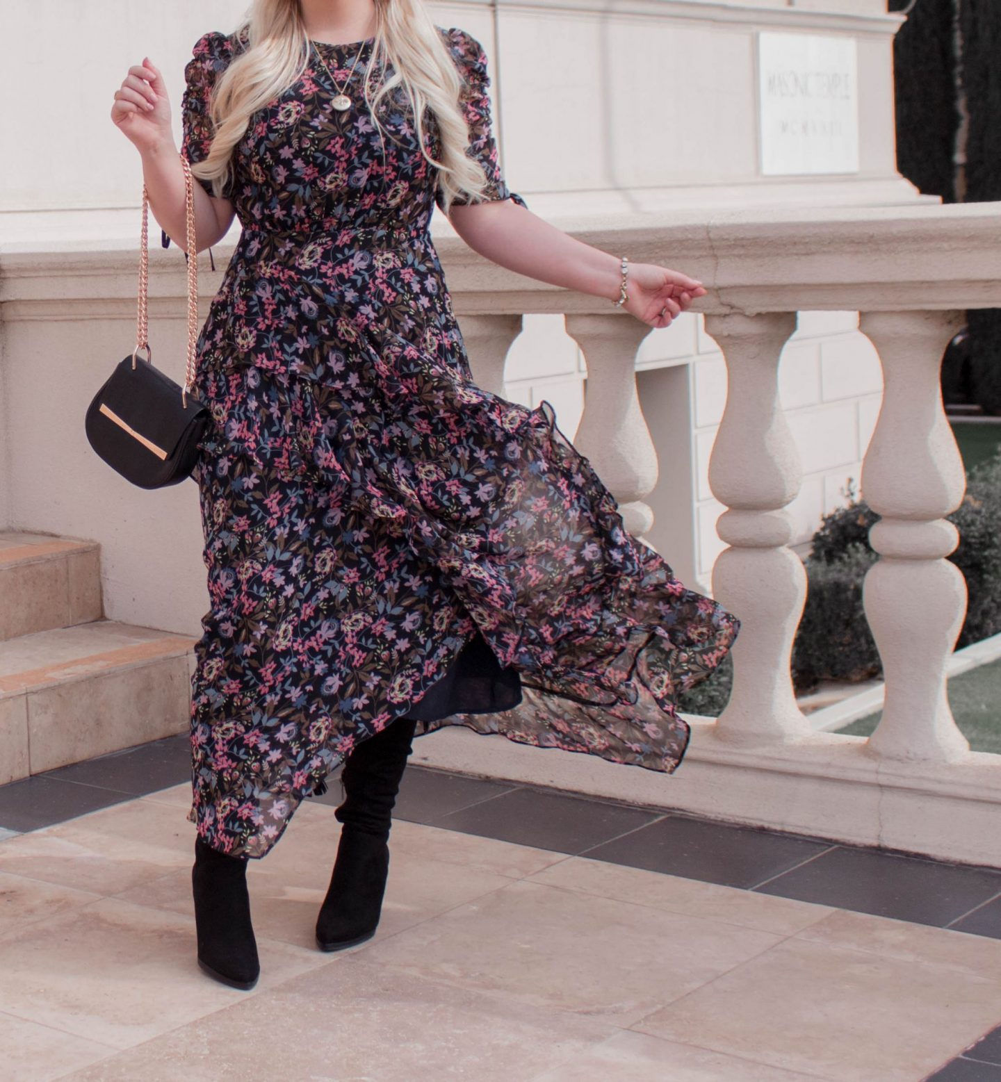 Fashion Blogger Elizabeth Hugen of Lizzie in Lace styles a black floral midi dress with Mark Fisher over the knee boots