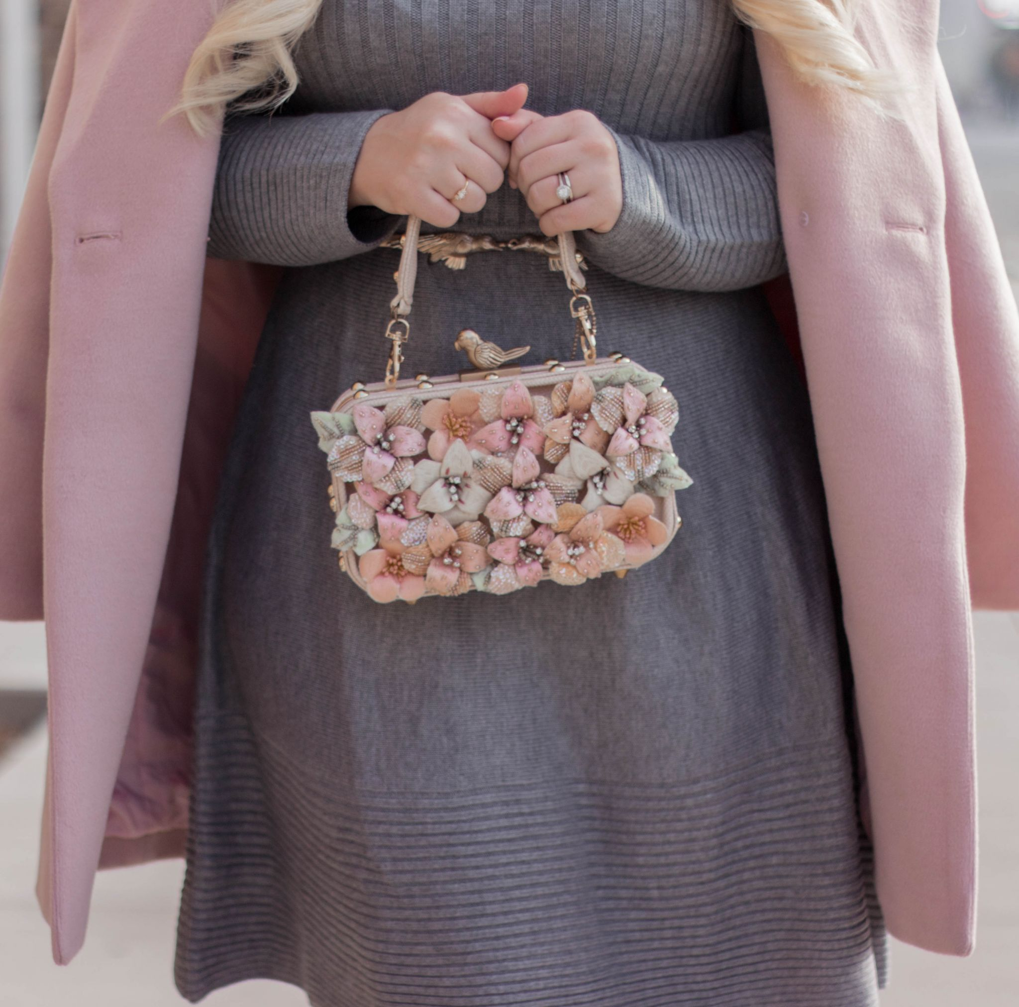 Fashion Blogger Elizabeth Hugen of Lizzie in Lace shares three ways to de-stress during the holidays along with a feminine grey and pink sweater dress outfit