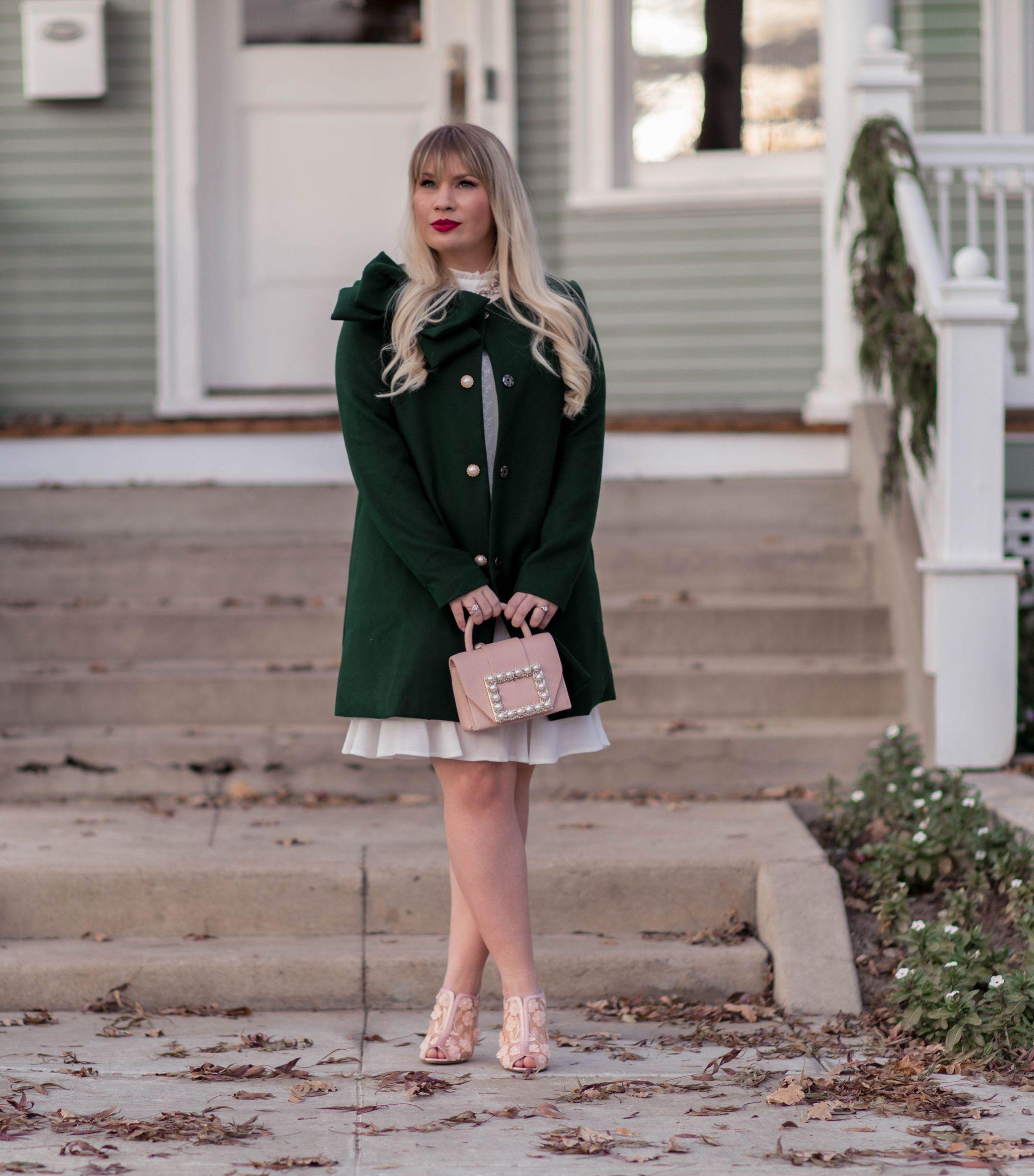 feminine Christmas outfit idea