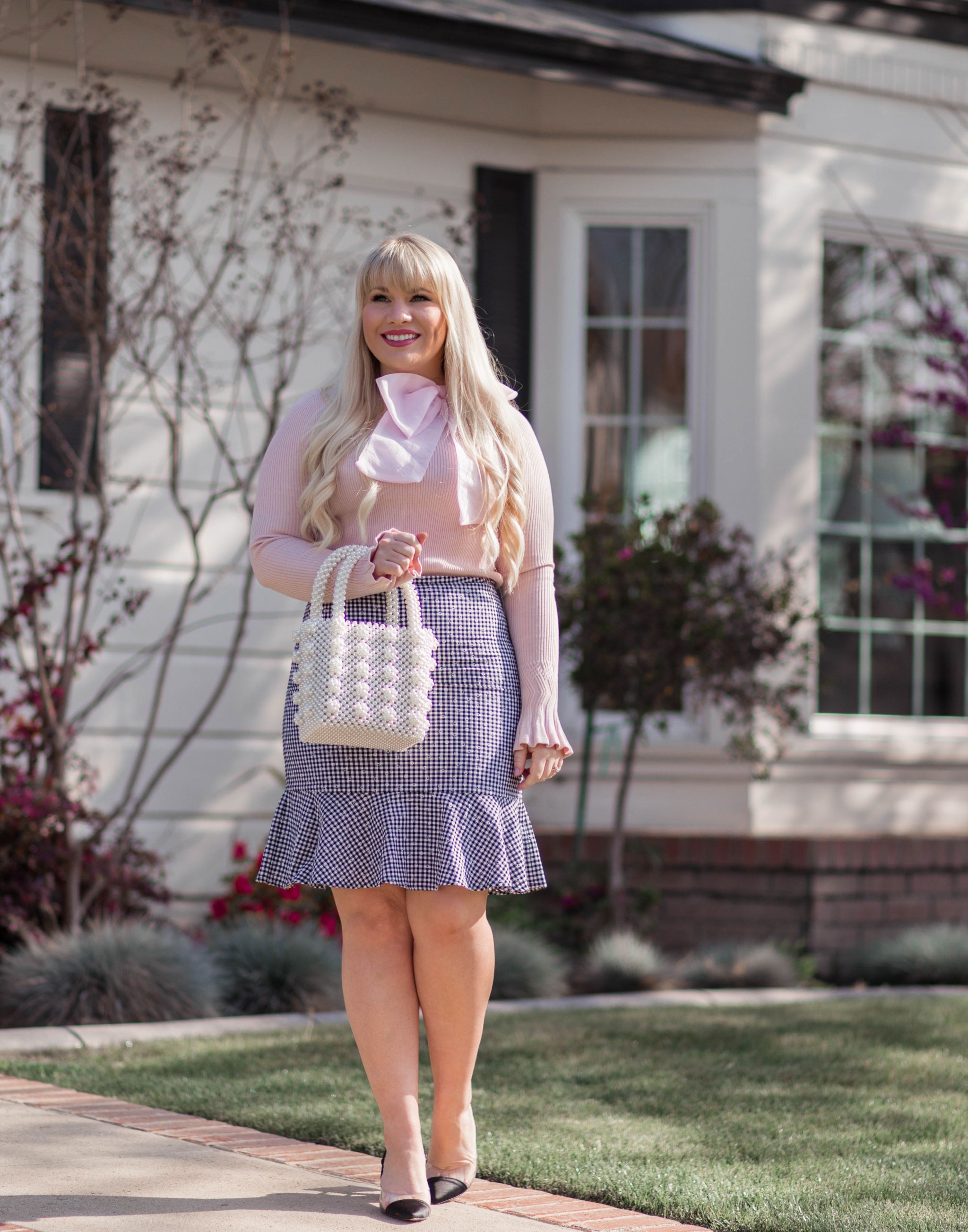 style a gingham skirt
