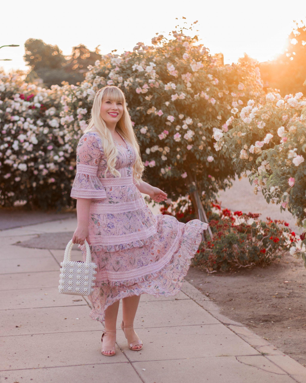 pink floral spring dress