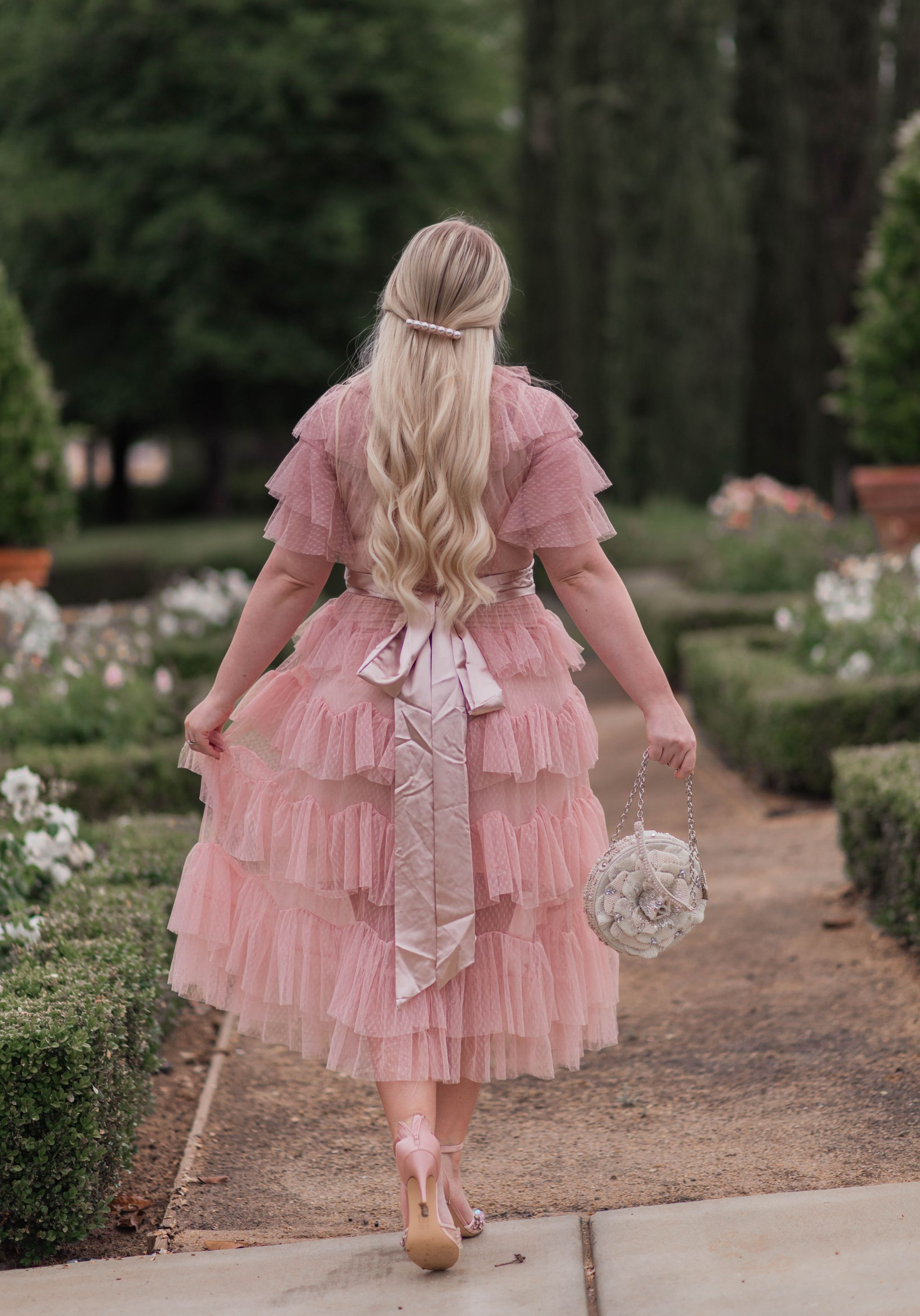 pink ruffled tulle dress