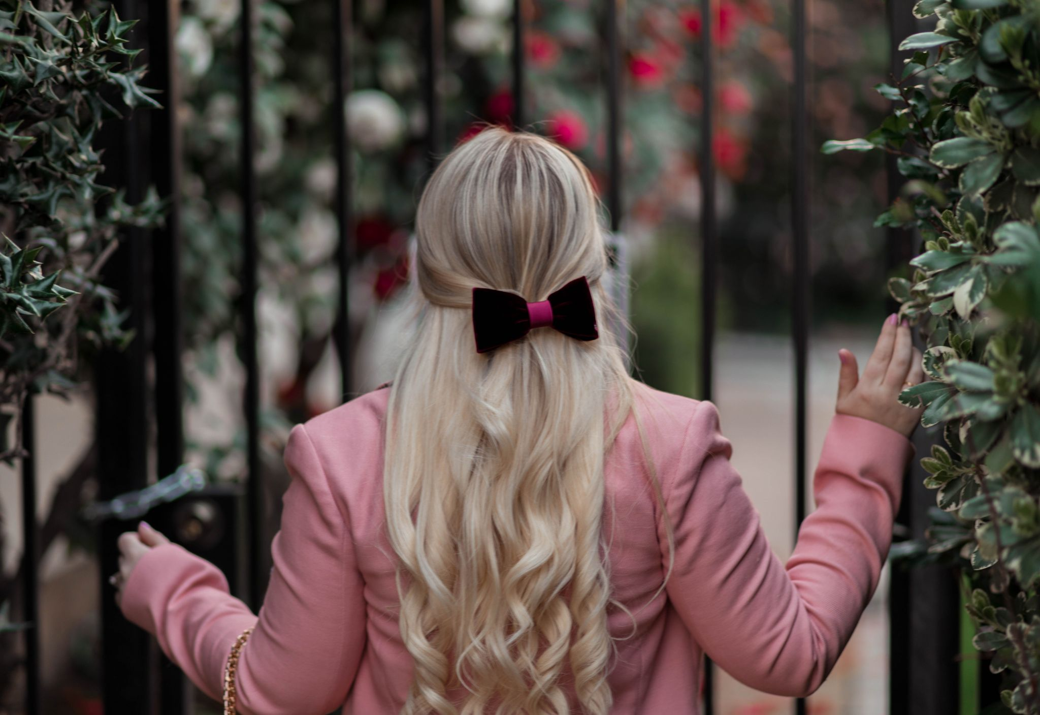 Feminine Fashion Blogger Elizabeth Hugen of Lizzie in Lace shares her girly hair accessories collection including this velvet hair bow