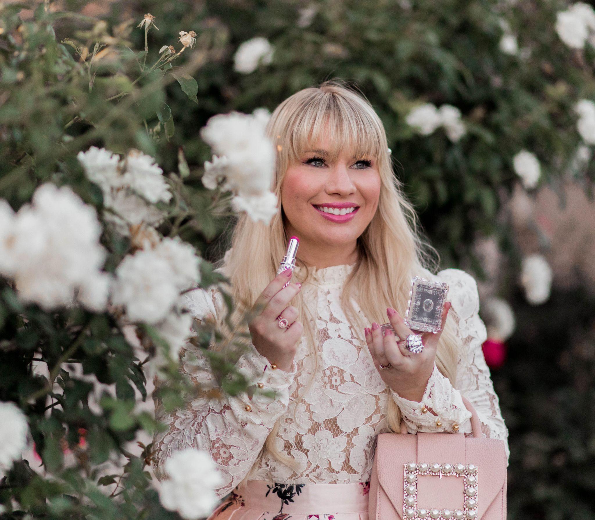 California fashion blogger, Elizabeth Hugen, wears pink Jill Stuart lipstick.