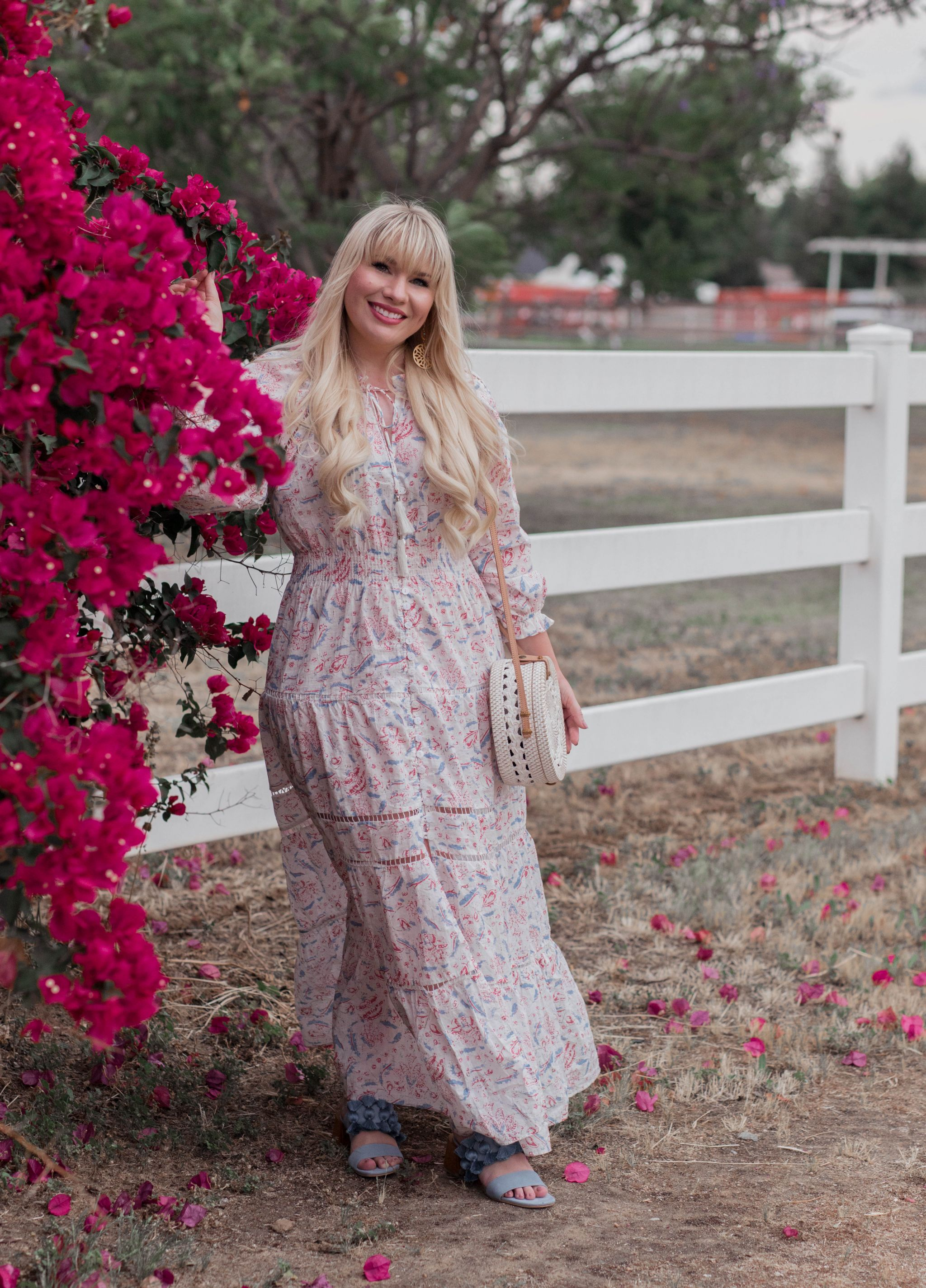 California fashion blogger Elizabeth Hugen wears a Chicwish petite floral maxi dress for summer.