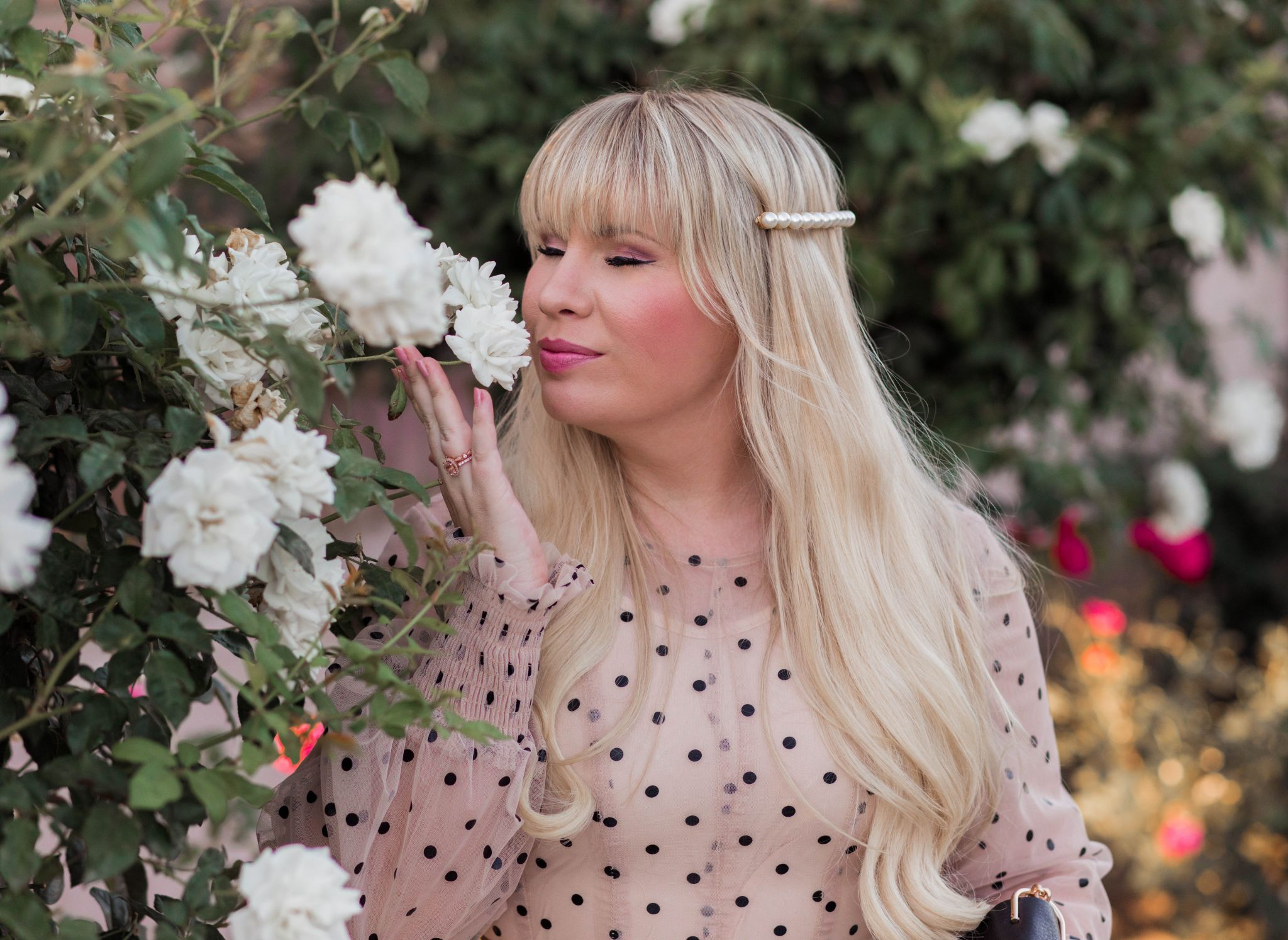 California fashion blogger, Elizabeth Hugen, styles a feminine polka dot tulle dress for summer.