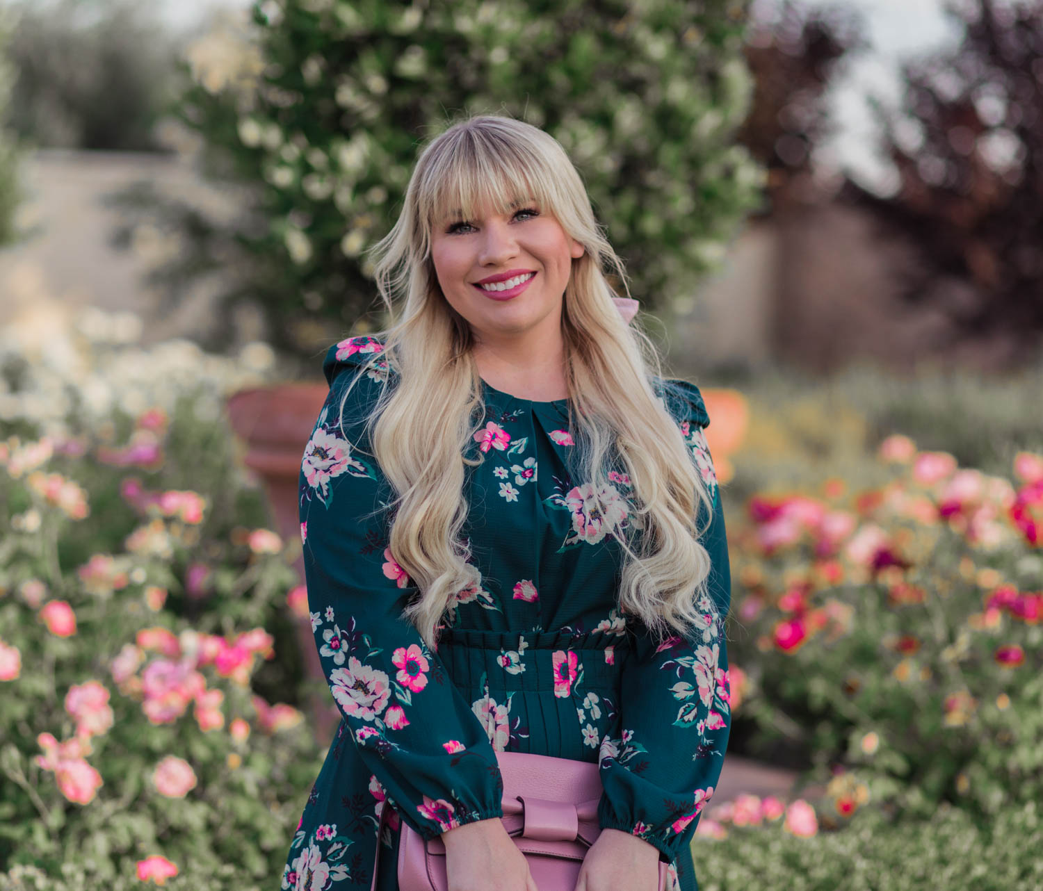 Petite fashion blogger, Elizabeth Hugen, styles a floral Eliza J dress from the Nordstrom Anniversary Sale!
