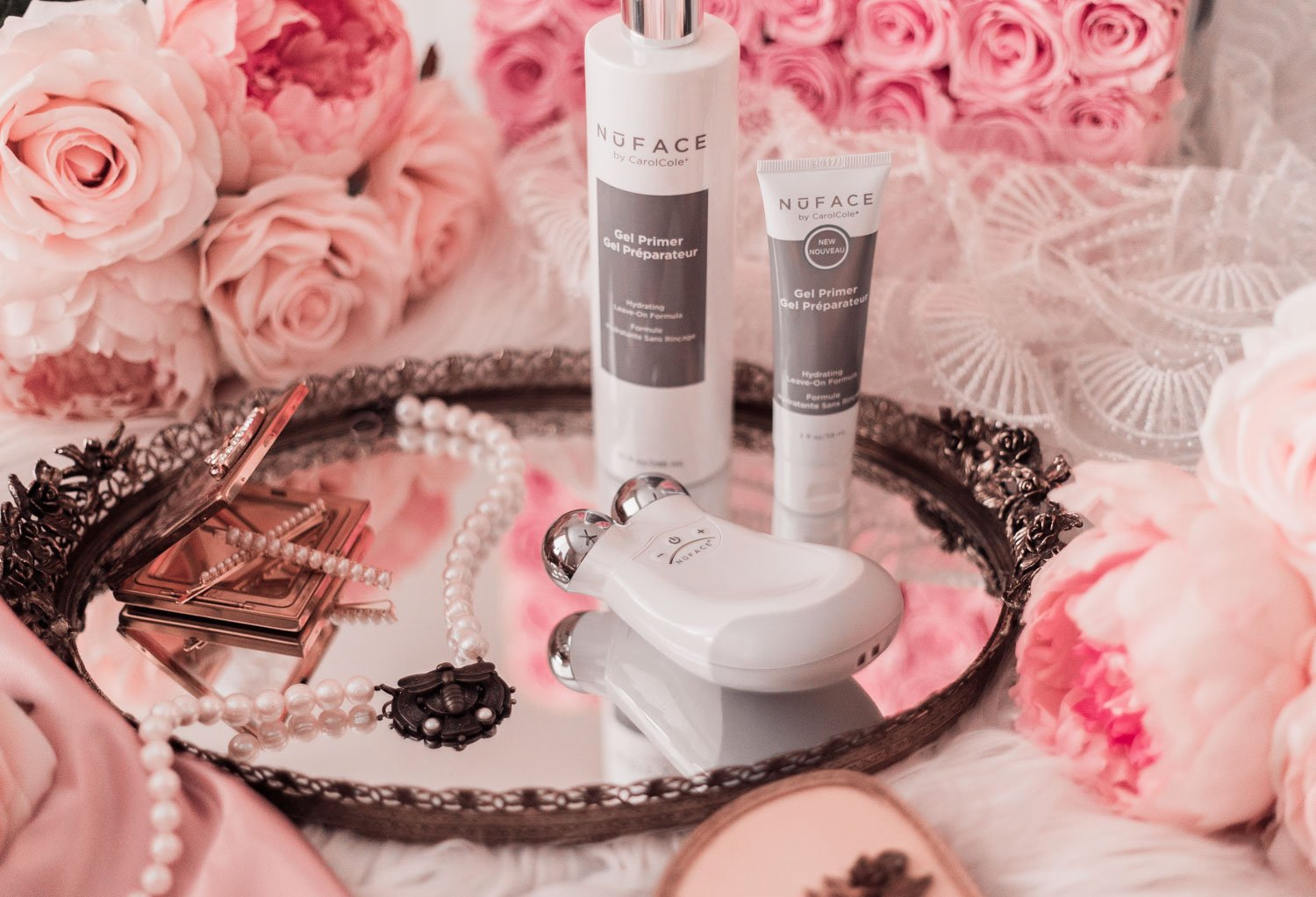 Elizabeth Hugen of Lizzie in Lace shares the best skincare device for aging skin, the NuFace Trinity Facial Toning Device.