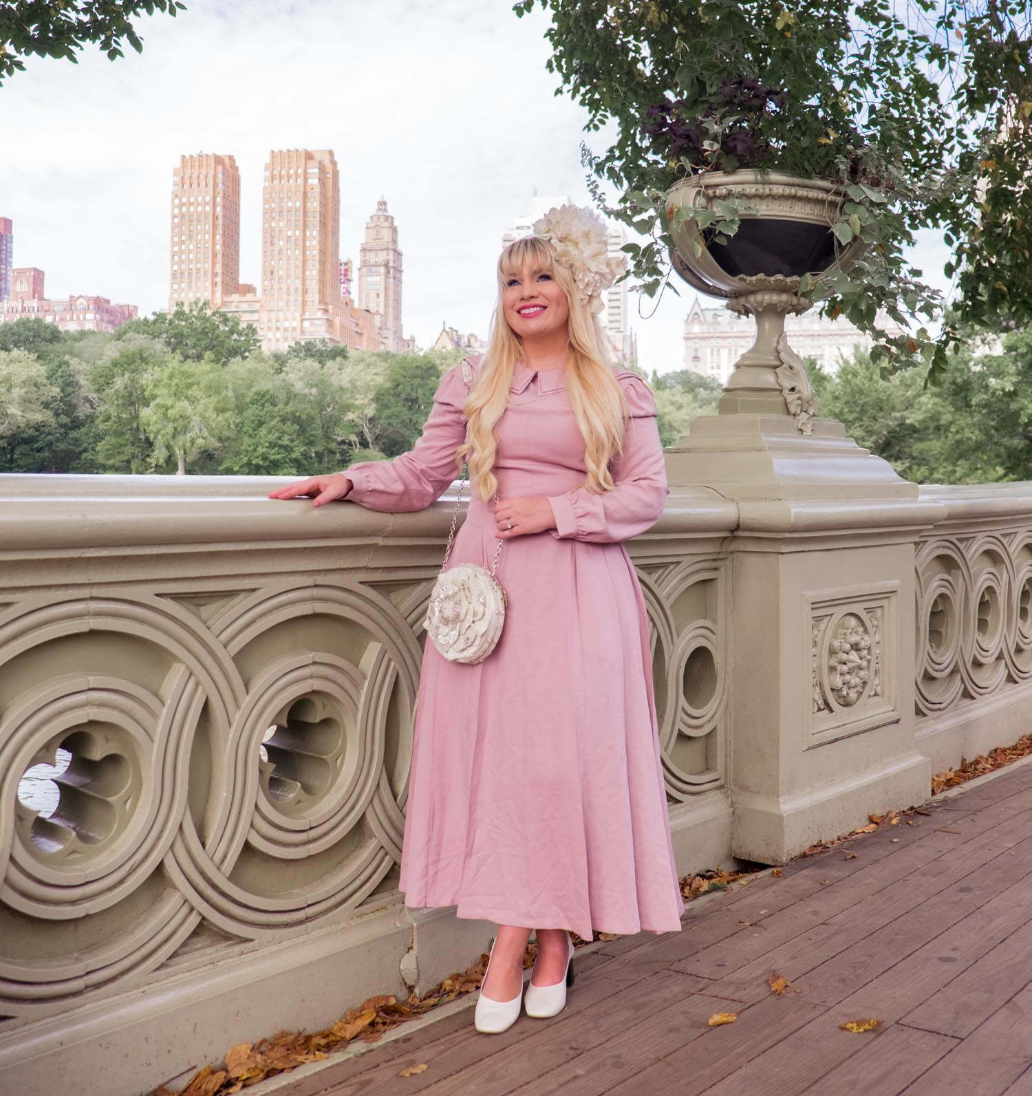 Elizabeth Hugen of Lizzie in Lace wears a pink Shopyte dress to NYFW!