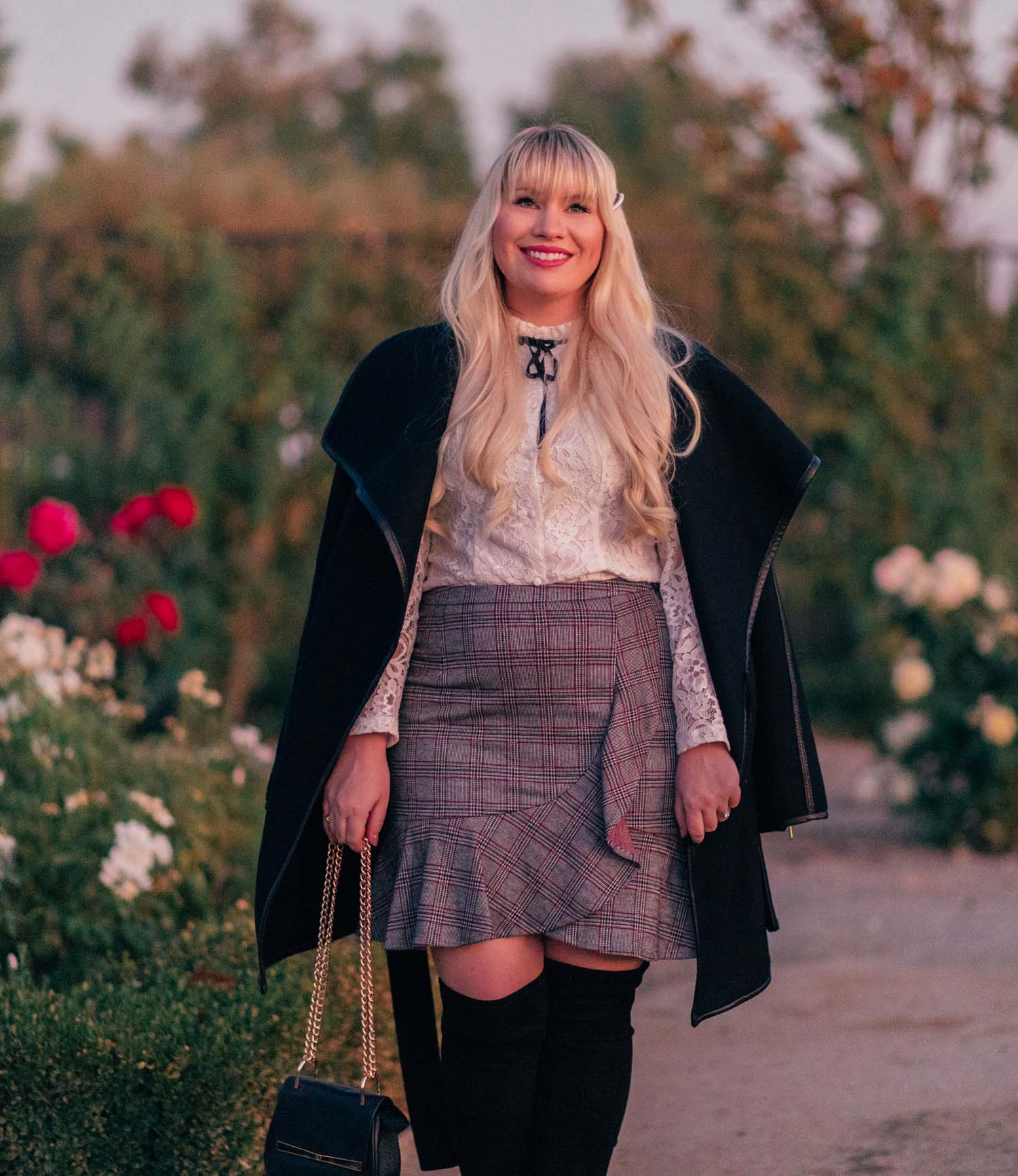 Elizabeth Hugen of Lizzie in Lace styles a Feminine Menswear Inspired Outfit for fall!