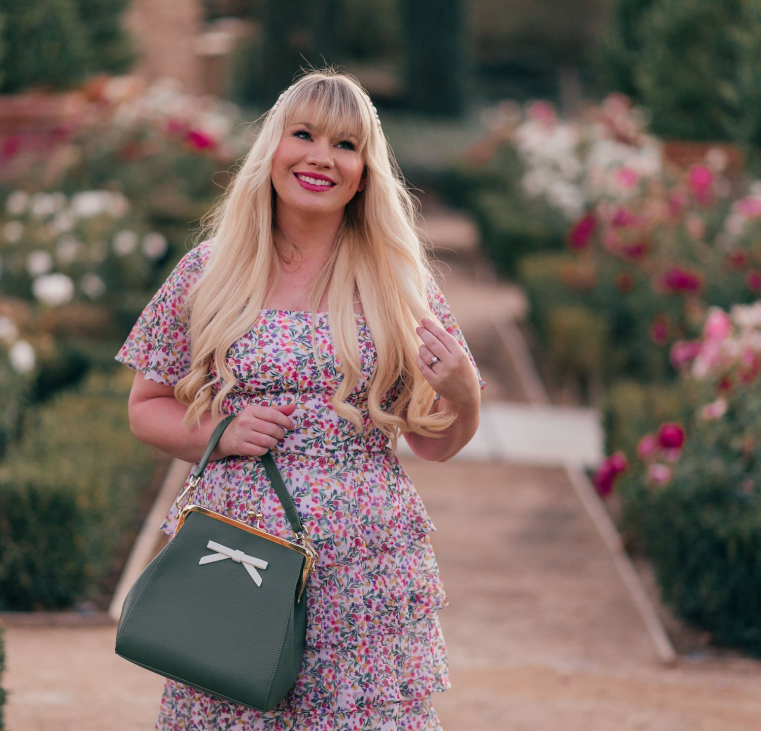 Elizabeth Hugen of Lizzie in Lace transitions into fall with a Girly colorful floral dress.