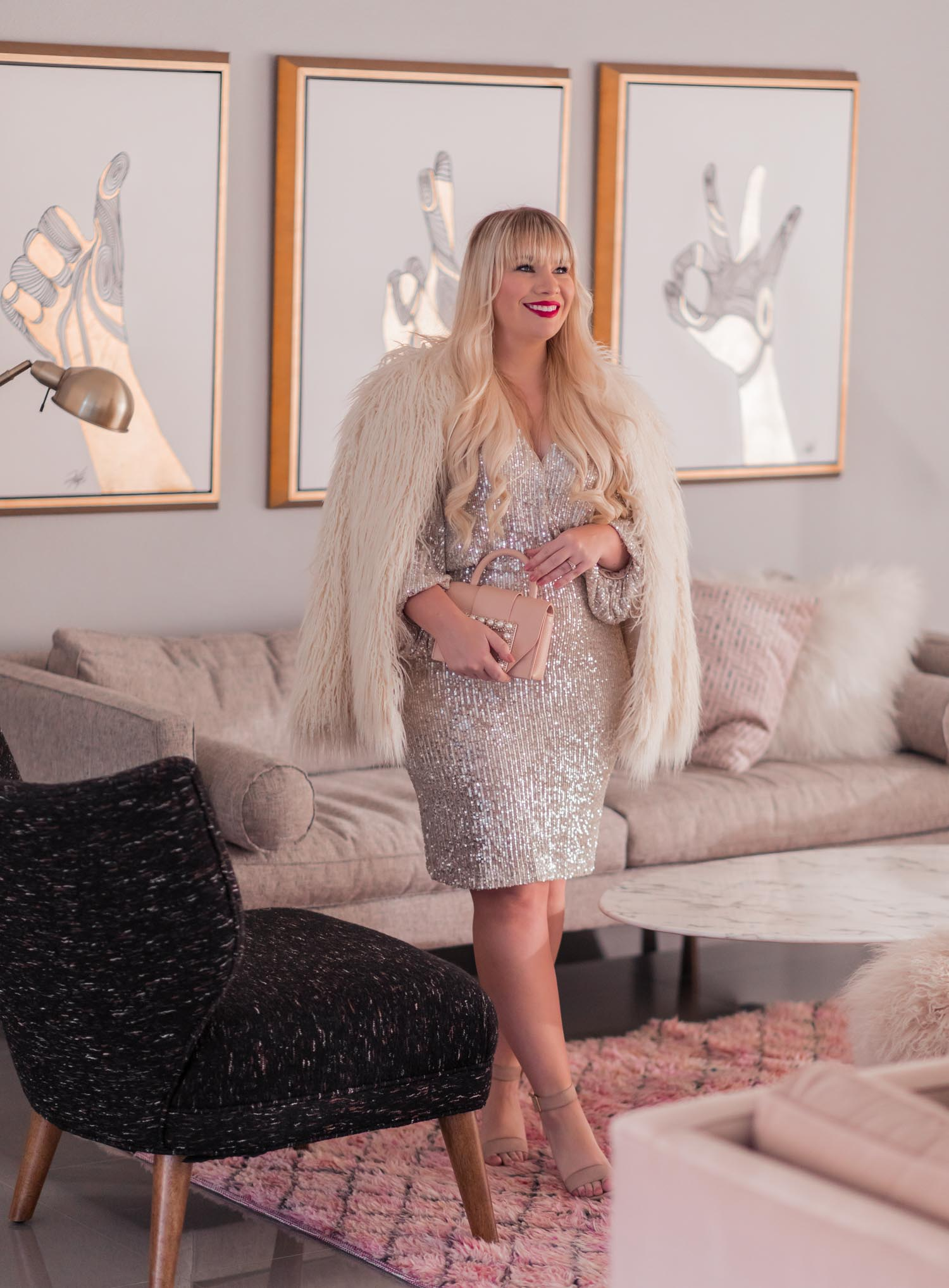 Elizabeth Hugen of Lizzie in Lace shares a feminine holiday outfit idea featuring a sequin New Years eve dress.