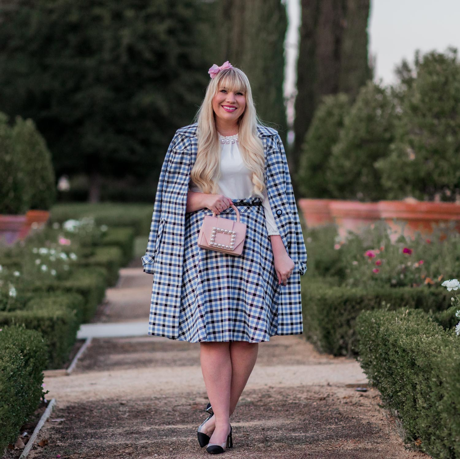 Elizabeth Hugen of Lizzie in Lace styles a plaid coat for winter!