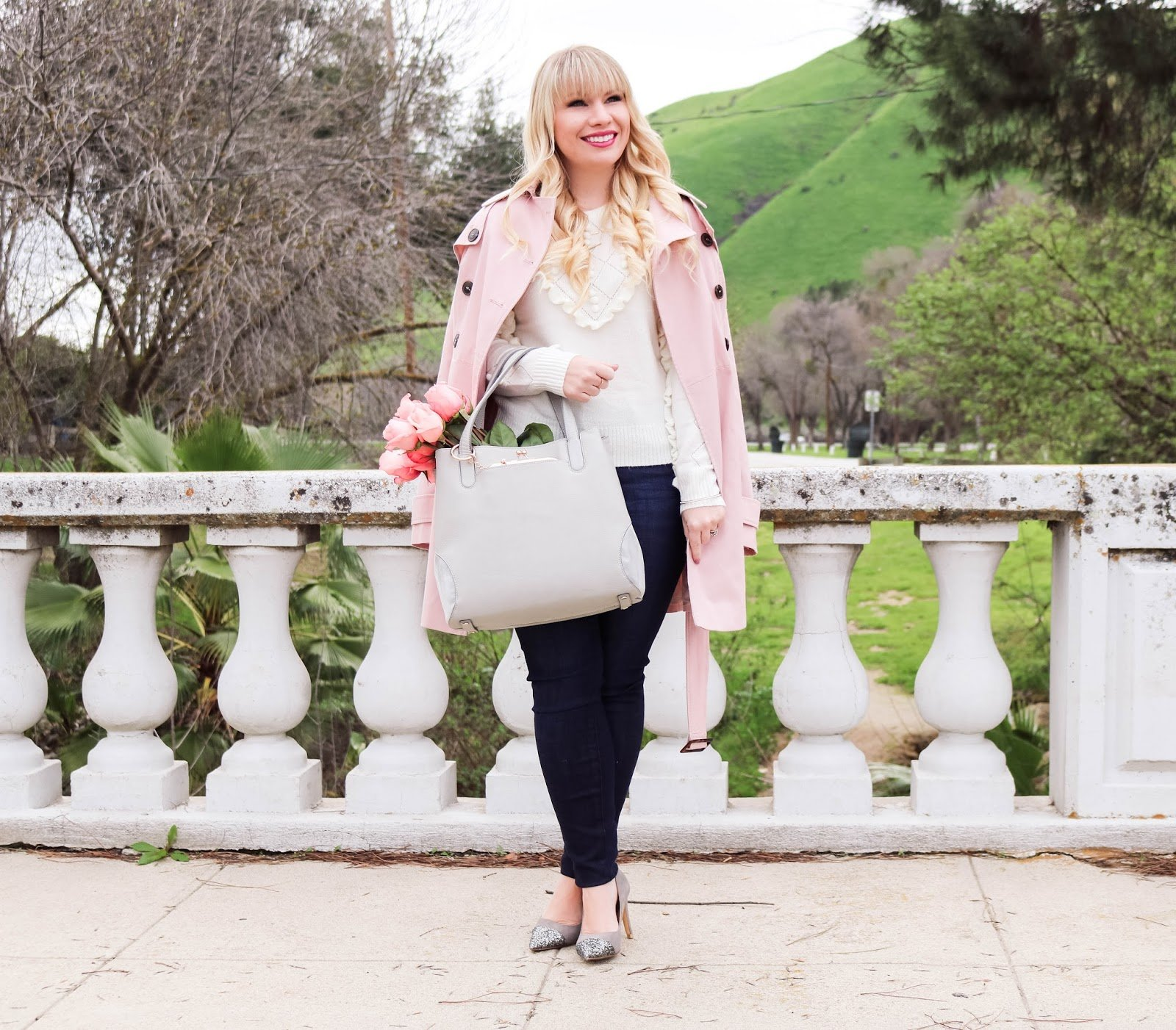 Elizabeth Hugen of Lizzie in Lace styles a pink trench coat for winter!