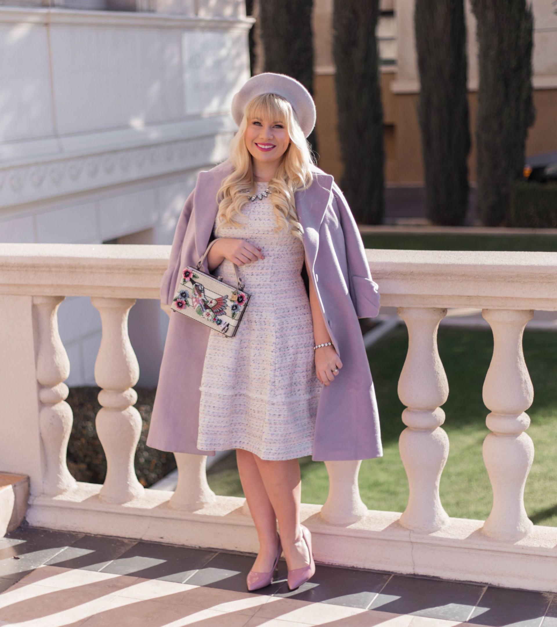 Elizabeth Hugen from Lizzie in Lace wears a lilac winter coat