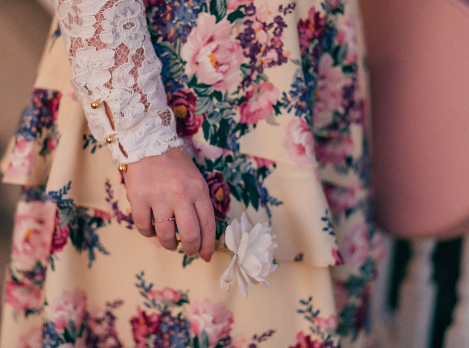 Elizabeth Hugen of Lizzie in Lace wears a rose gold ring!