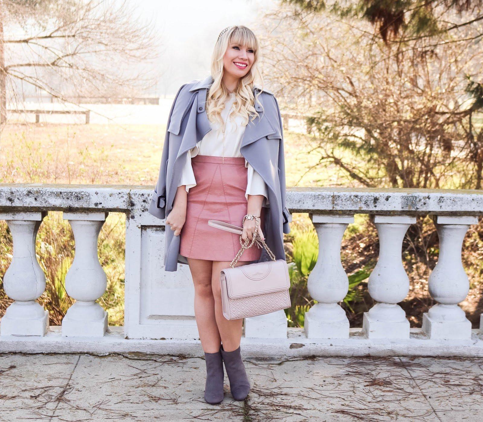Elizabeth Hugen from Lizzie in Lace wears a grey winter coat