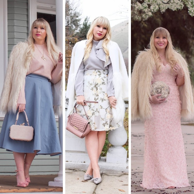 Elizabeth Hugen of Lizzie in Lace styles cream faux fur coats for winter!