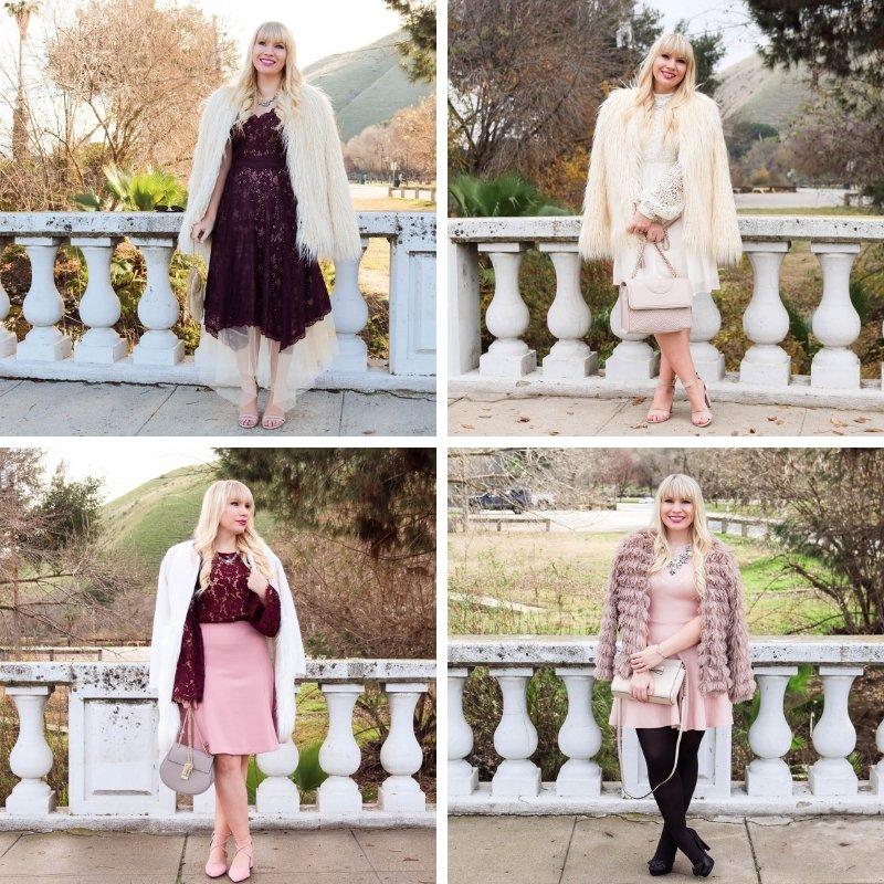 Elizabeth Hugen of Lizzie in Lace styles cream faux fur coats for winter!