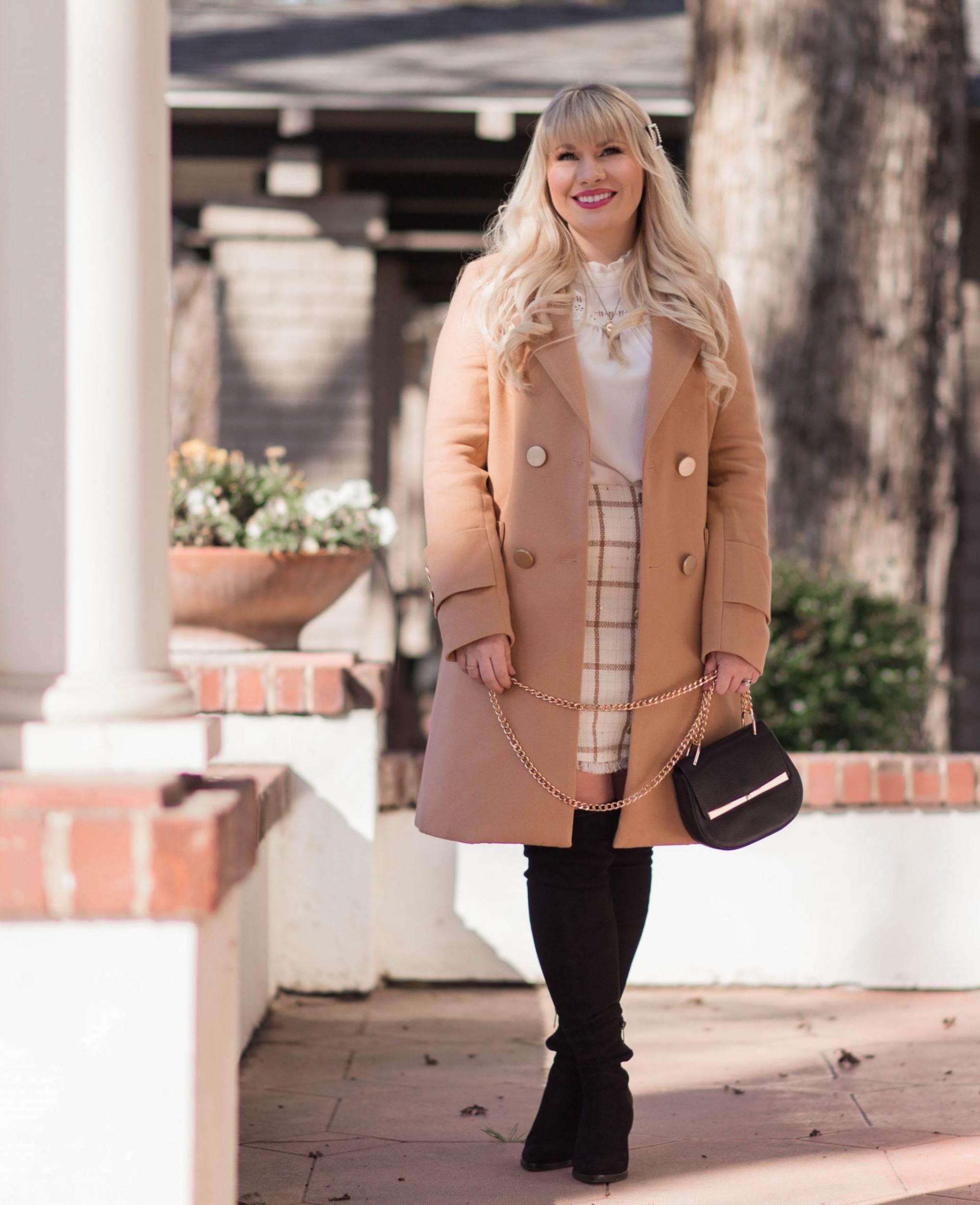 Elizabeth Hugen from Lizzie in Lace wears a camel winter coat