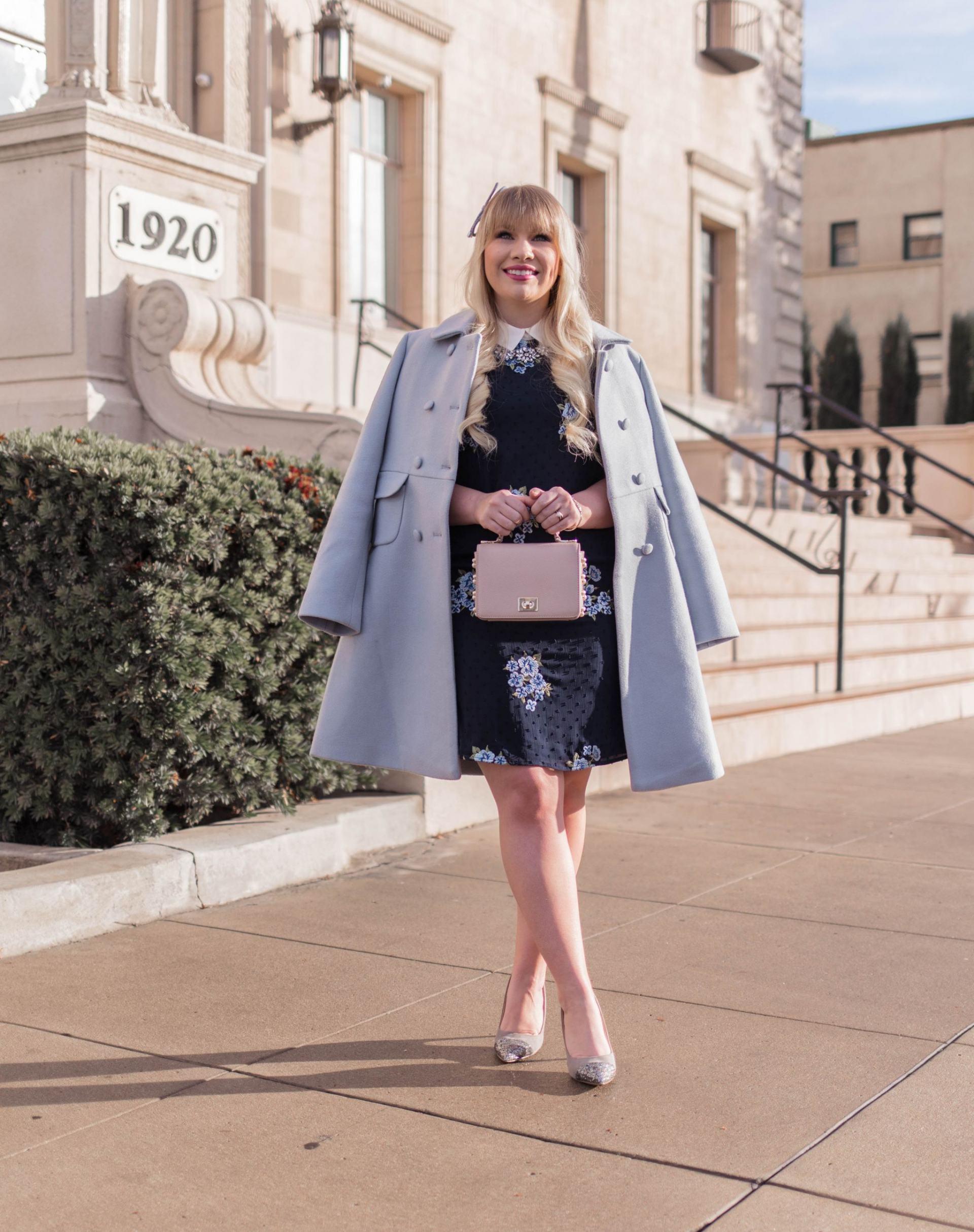Elizabeth Hugen from Lizzie in Lace wears a light blue winter coat