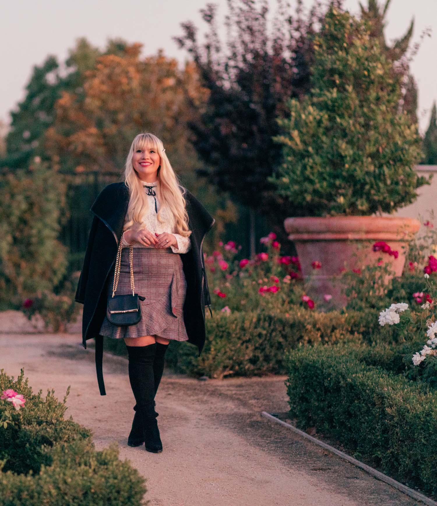 Elizabeth Hugen from Lizzie in Lace wears a black winter coat