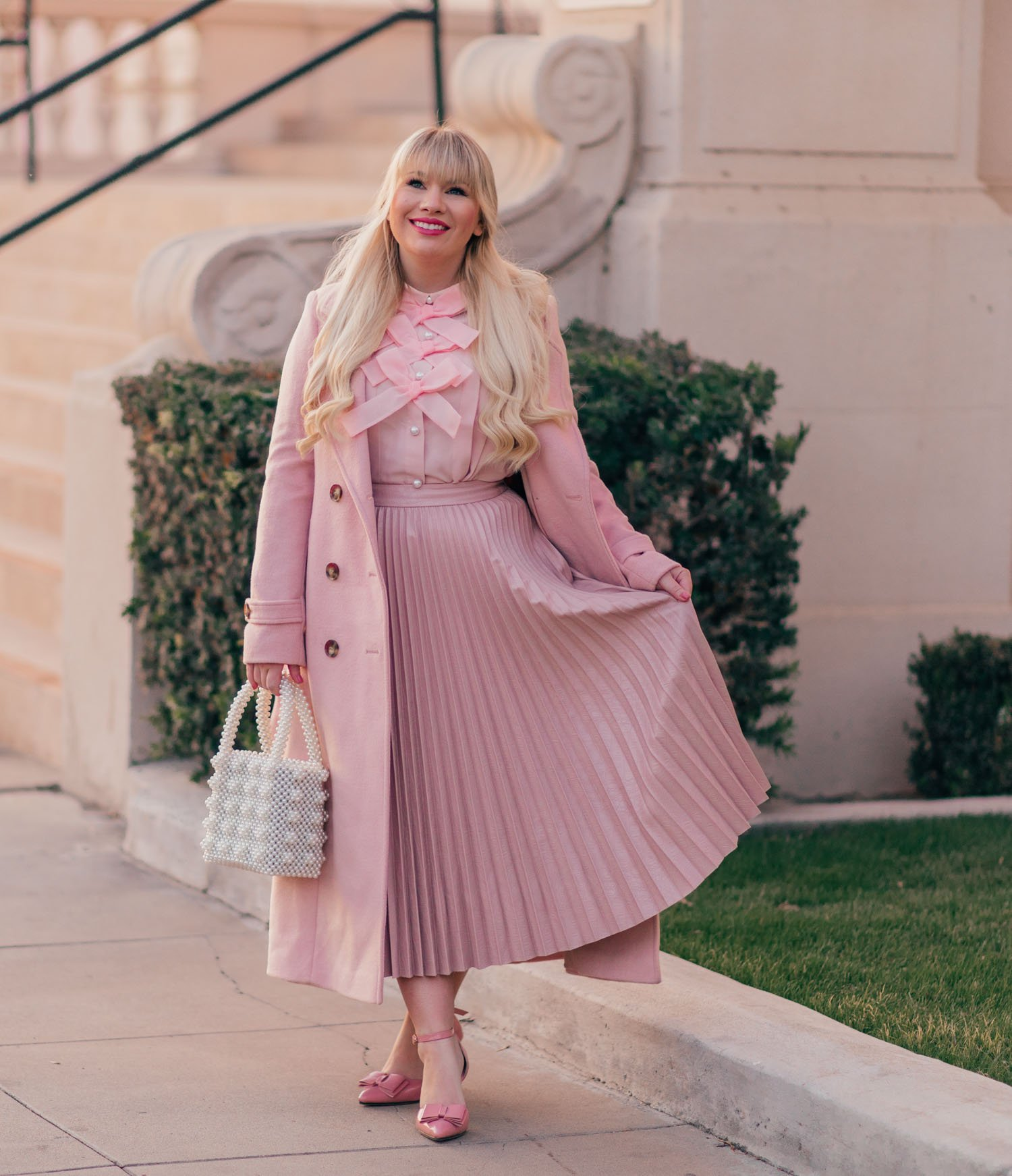Elizabeth Hugen of Lizzie in Lace styles a pink monochrome outfit from Halogen!