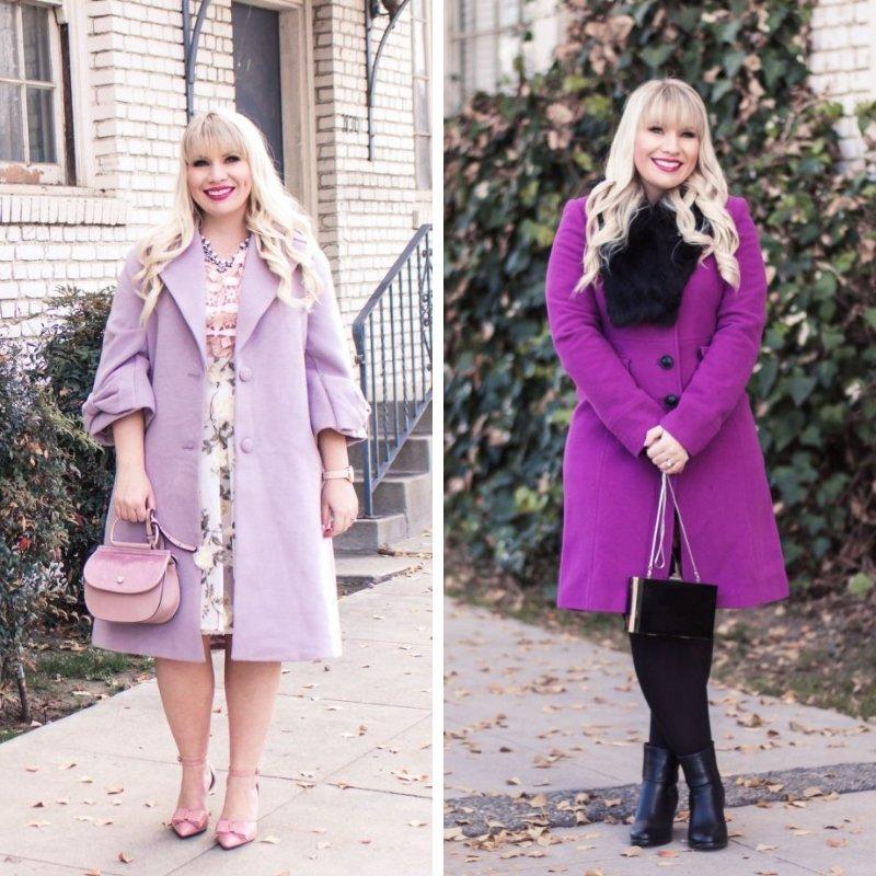 Elizabeth Hugen from Lizzie in Lace wears a purple winter coat