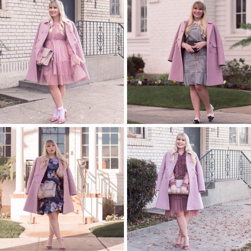 Elizabeth Hugen from Lizzie in Lace wears a pink winter coat