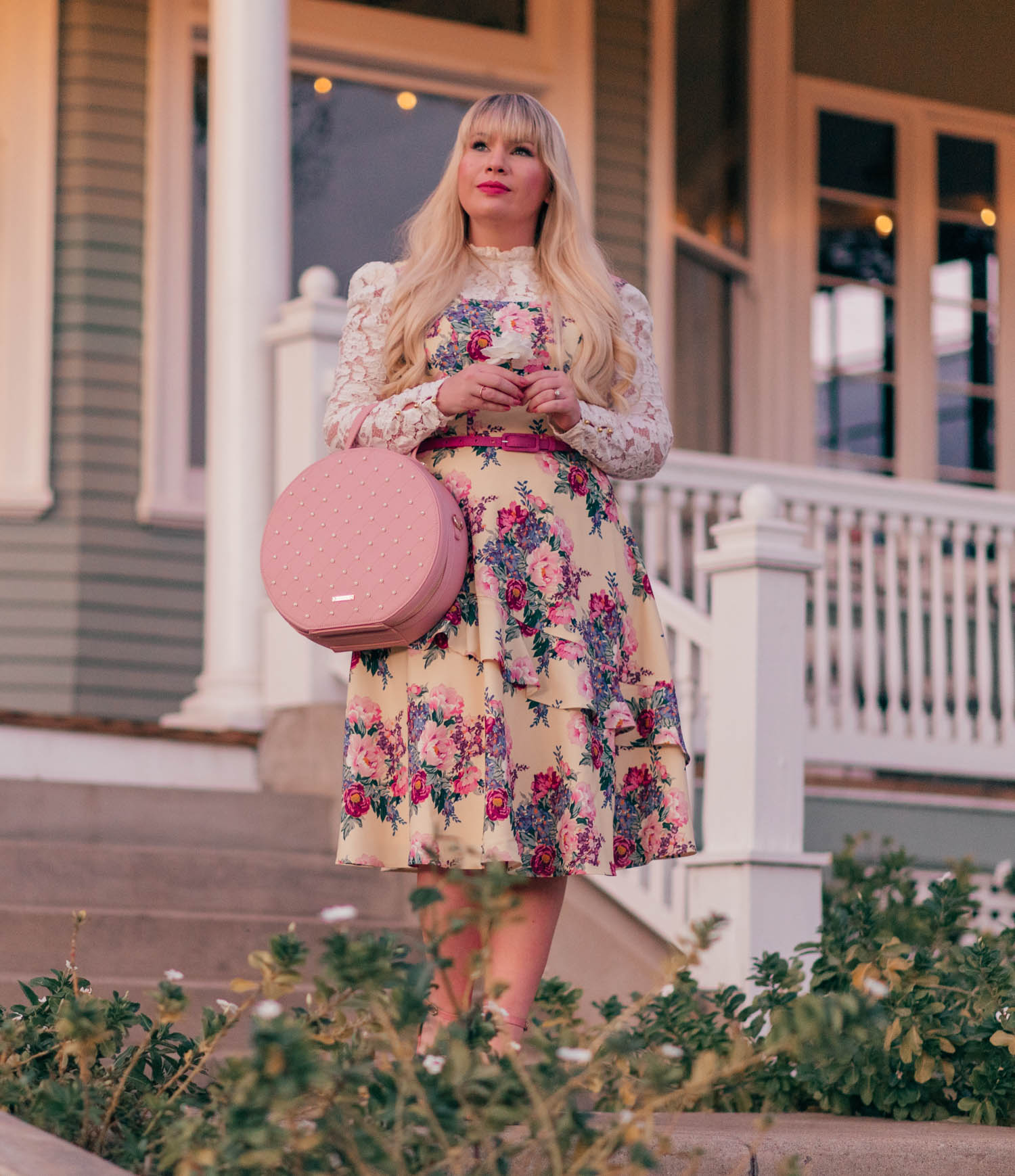 Elizabeth Hugen of Lizzie in Lace wears a yellow floral dress!