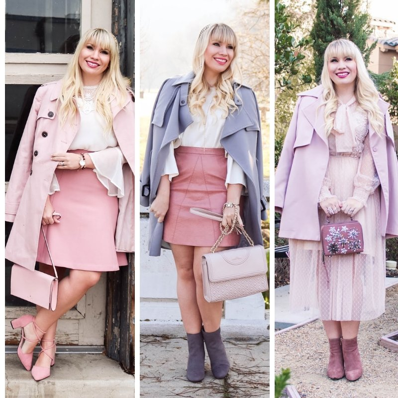 Elizabeth Hugen of Lizzie in Lace styles pink trench coats for winter!