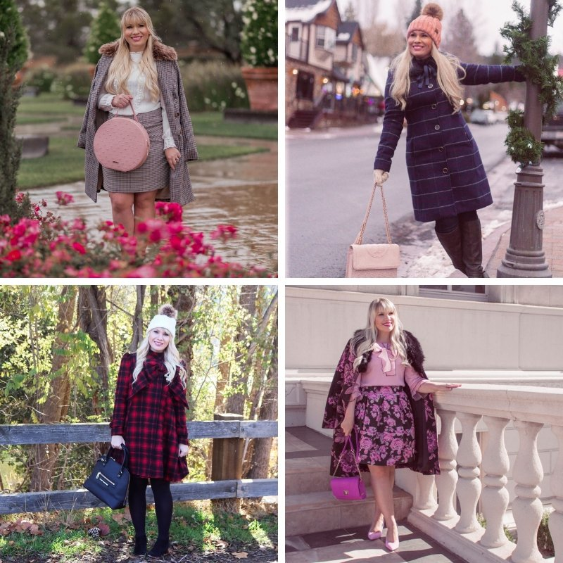 Elizabeth Hugen of Lizzie in Lace styles plaid coats for winter!