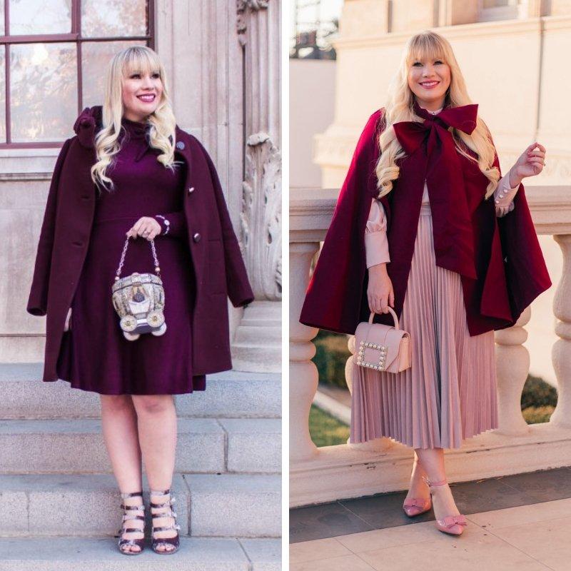 Elizabeth Hugen from Lizzie in Lace wears a red winter coat