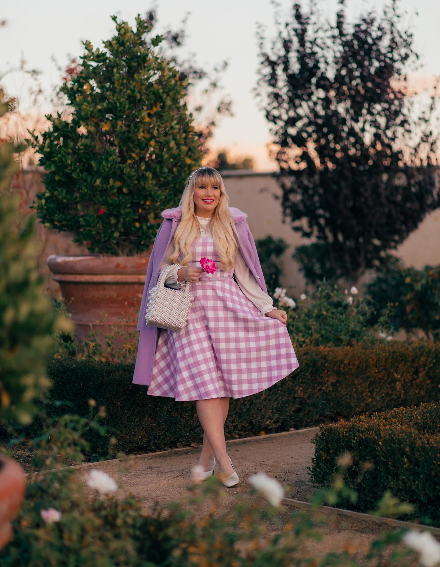Girly Winter Outfit: Lilac Gingham Dress