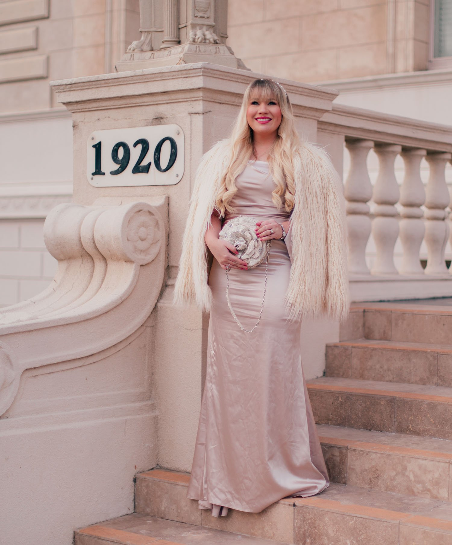 Elizabeth Hugen of Lizzie in Lace wears a glamorous New Years Eve outfit