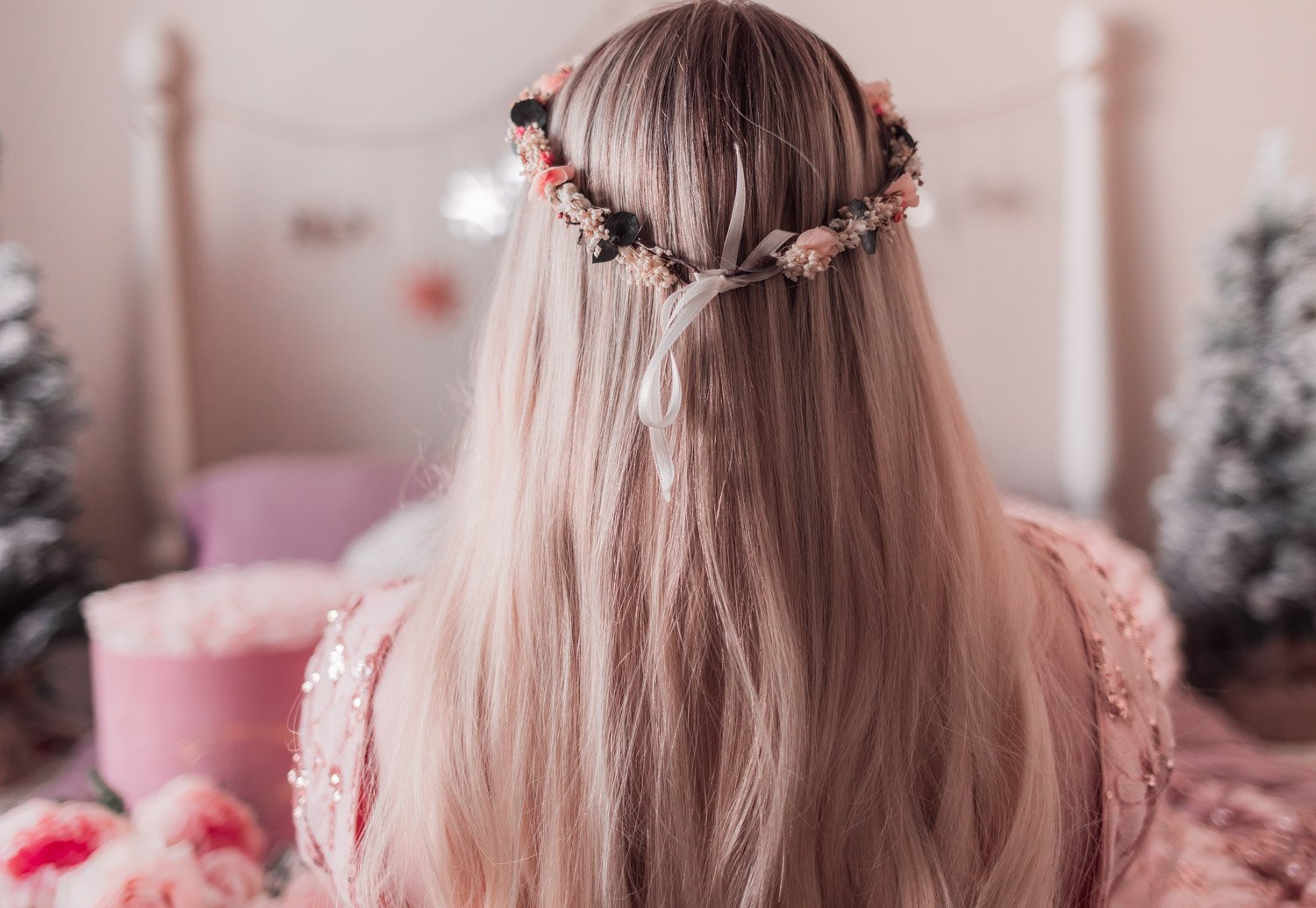 Elizabeth Hugen from Lizzie in Lace shares a flower crown hairstyle