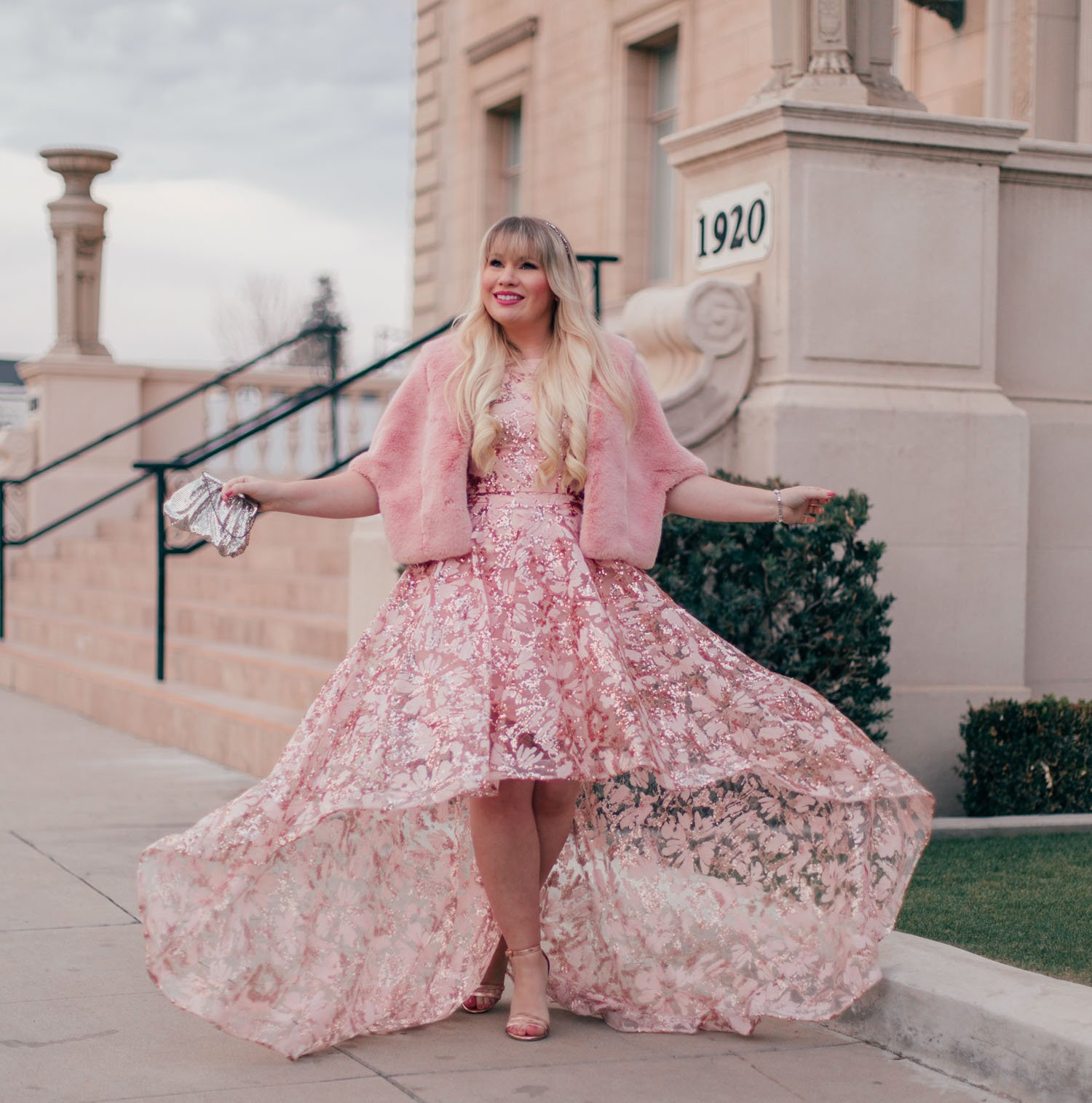 Elizabeth Hugen of Lizzie in Lace wears a pink new years eve outfit