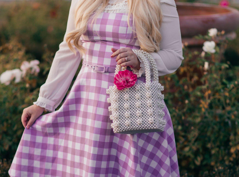 Elizabeth Hugen of Lizzie in Lace styles a pearl handbag