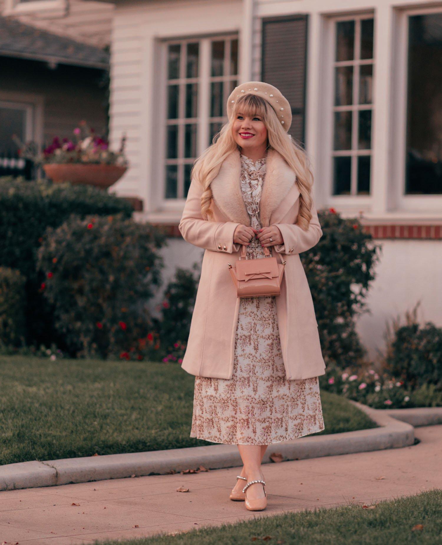 Elizabeth Hugen of Lizzie in Lace wears a neutral feminine winter outfit
